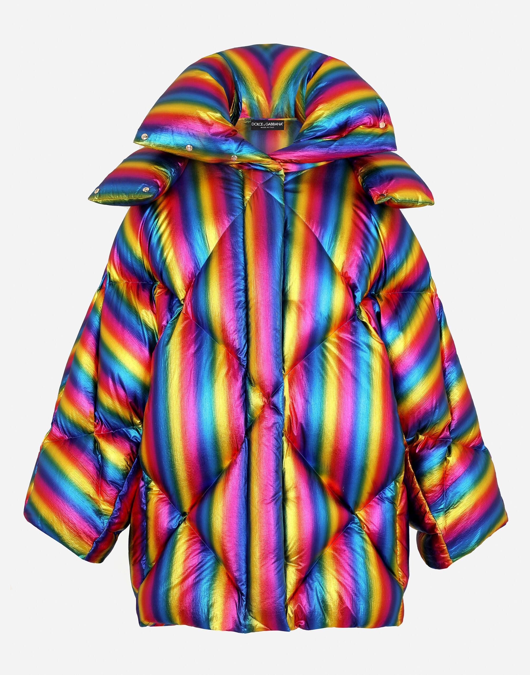 Foiled nylon down jacket with multi-colored stripes 5
