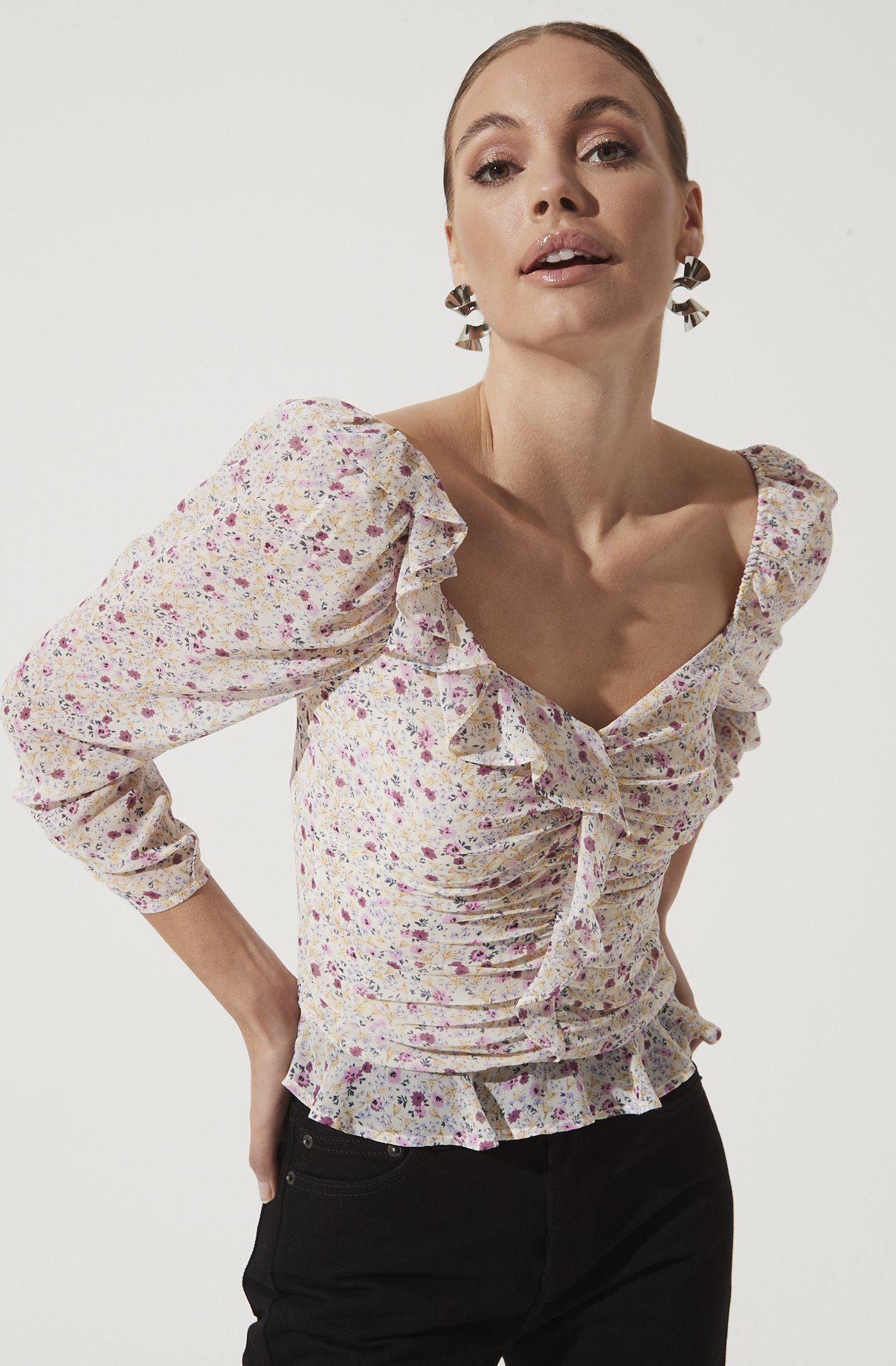 Ruched Sleeve Sweetheart Top