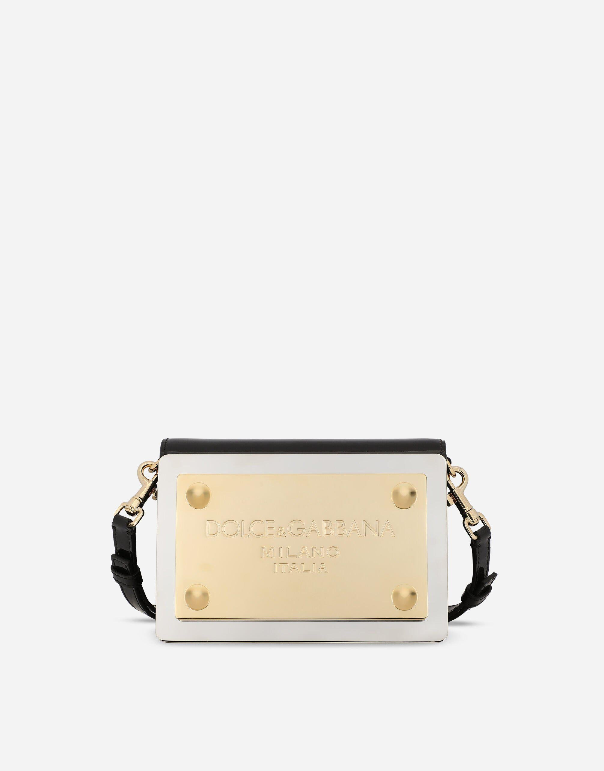 Patent leather 90s Sicily clutch with branded plate