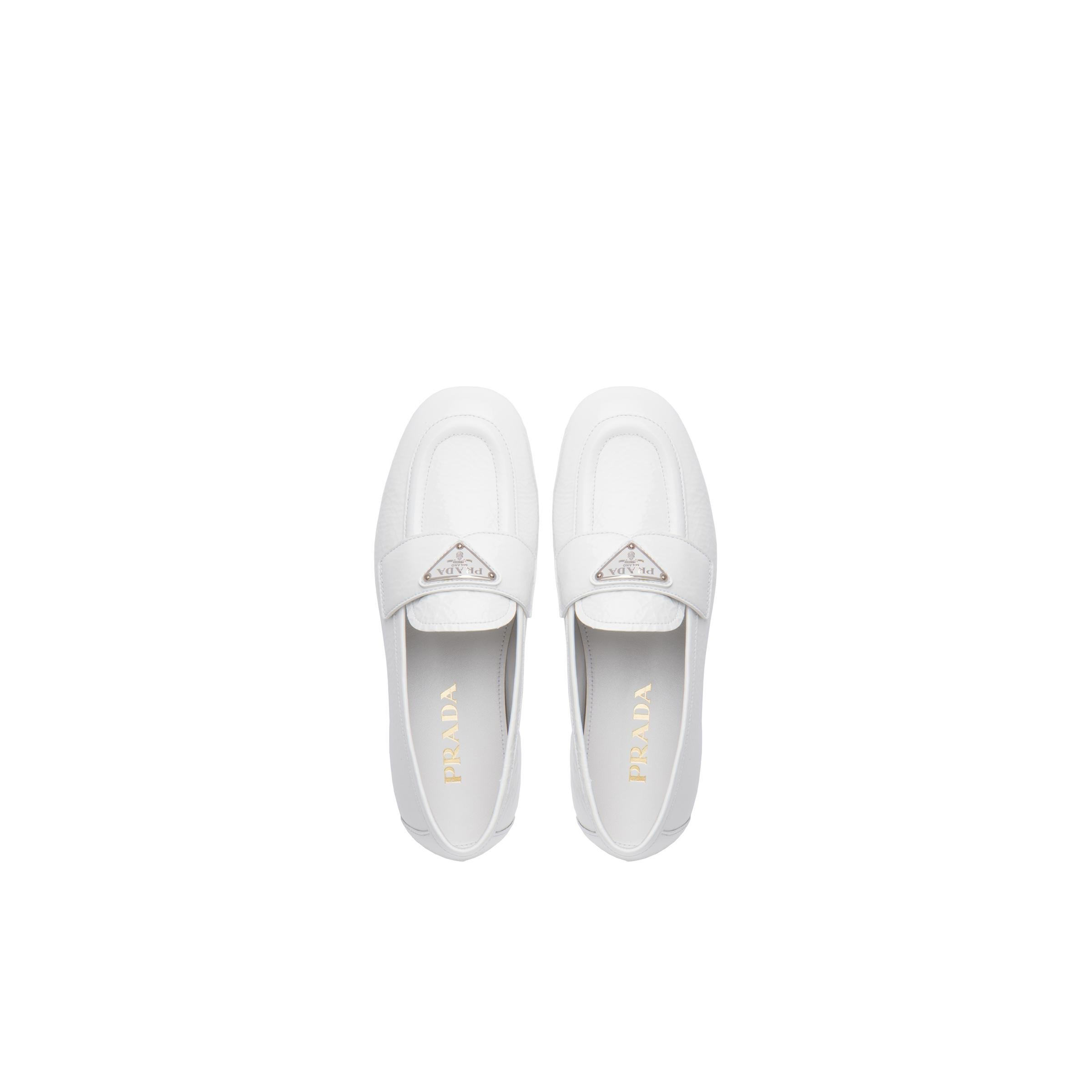 Patent Leather Loafers Women White 1