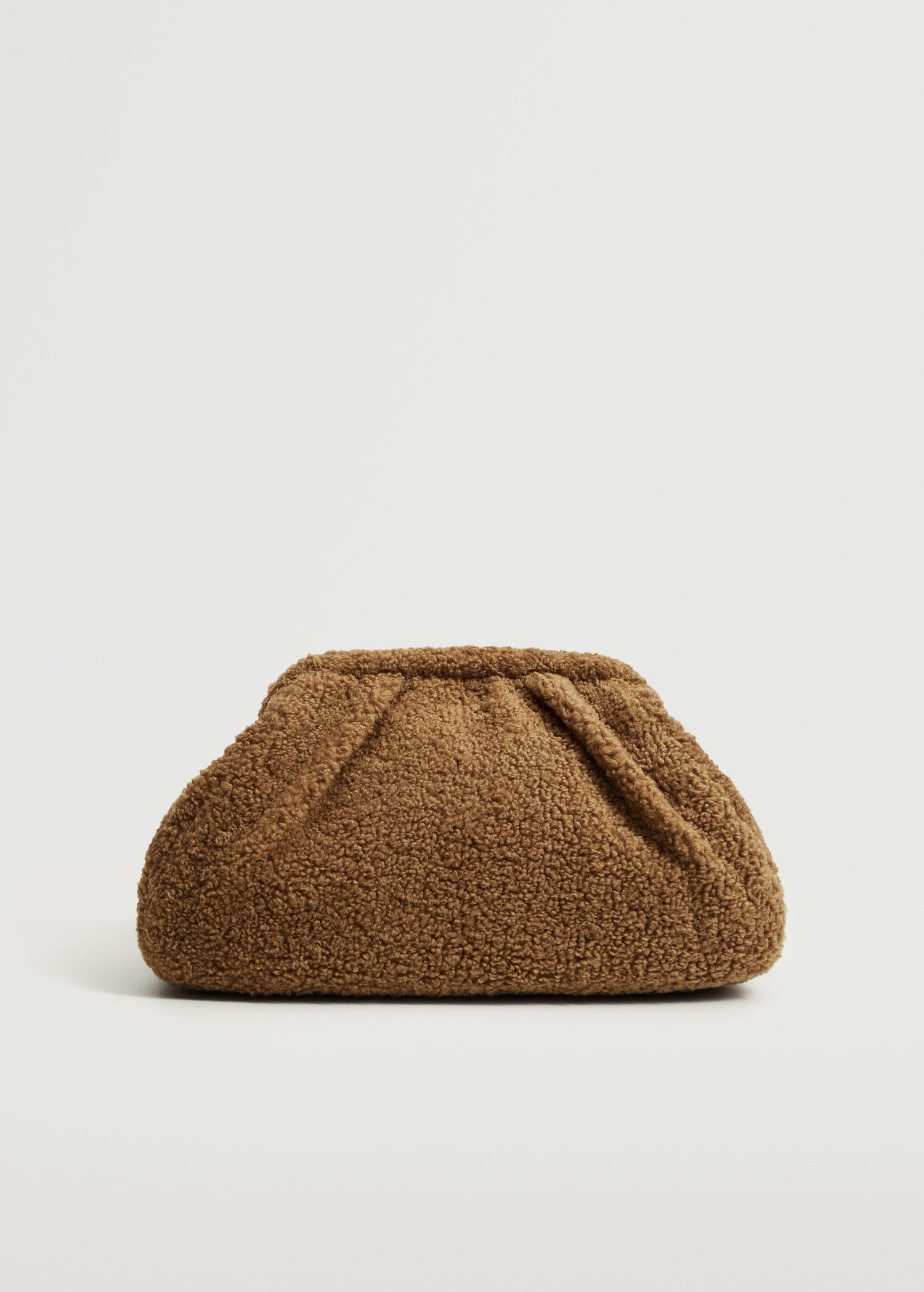 Textured faux-shearling clutch