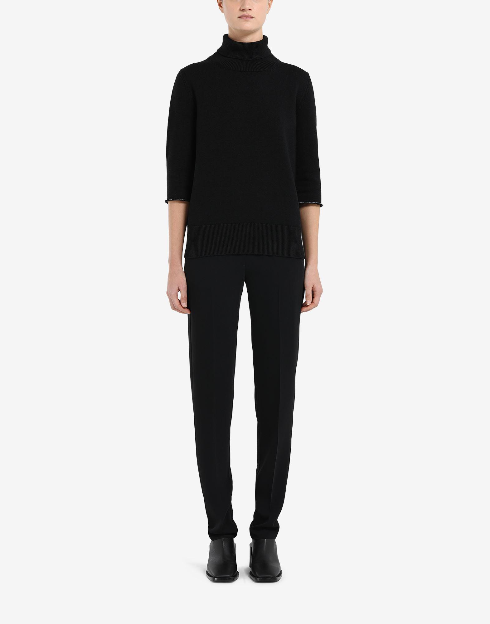 Elbow patch cropped sleeve sweater