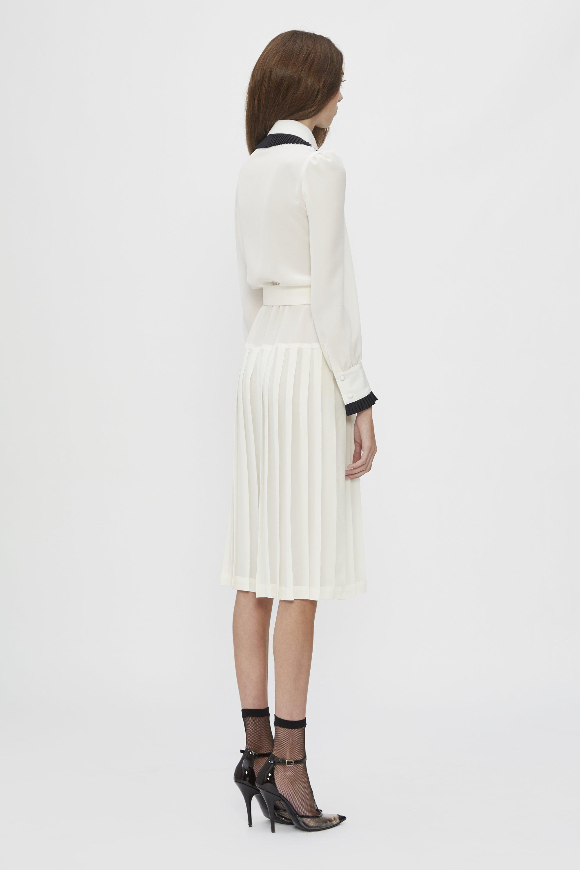 OFF WHITE AND BLACK BELTED SILK PLEATED COLLAR DRESS 1