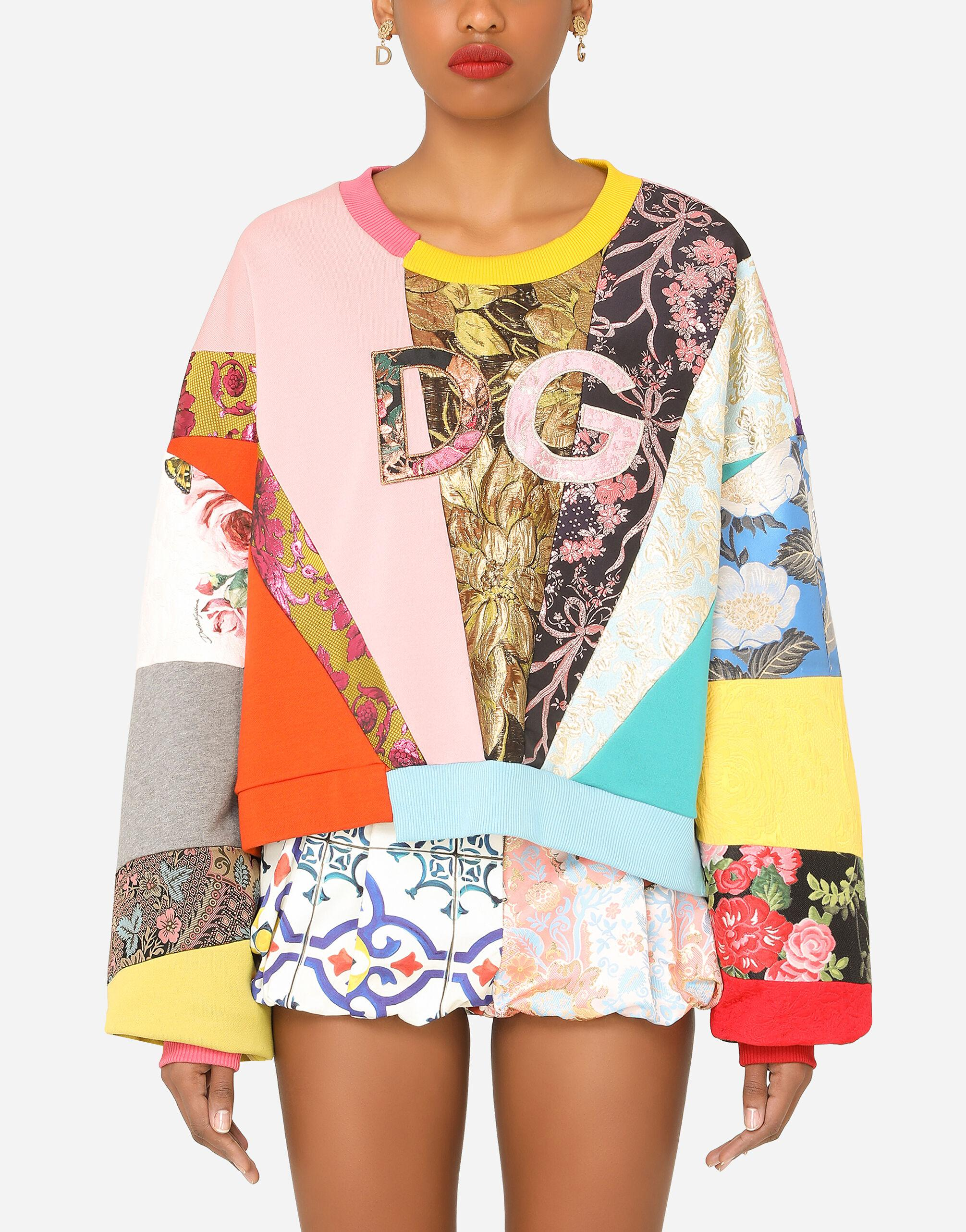Patchwork jersey sweatshirt with DG embroidery