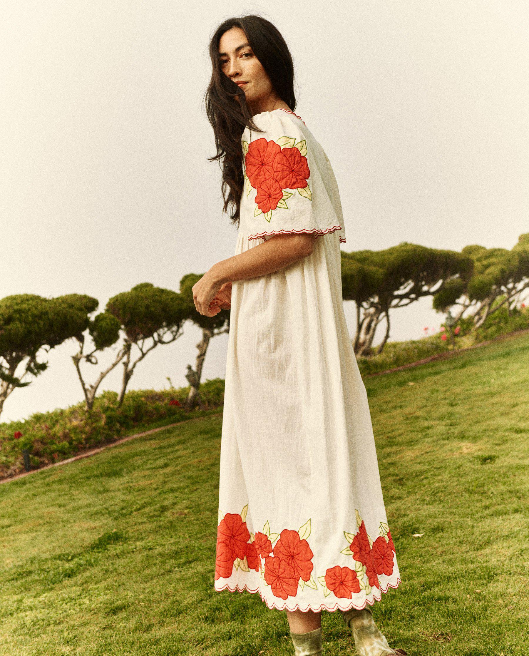 The Applique Floral Midi Dress. -- Cream with Red 2
