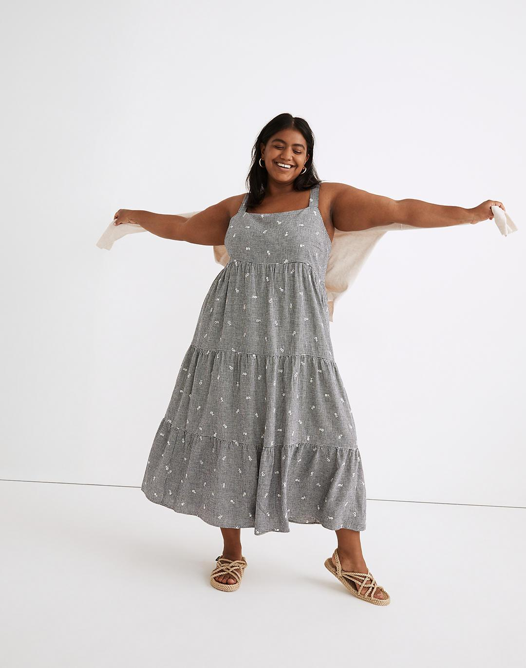 Plus Embroidered Tiered Midi Dress in Gingham Check
