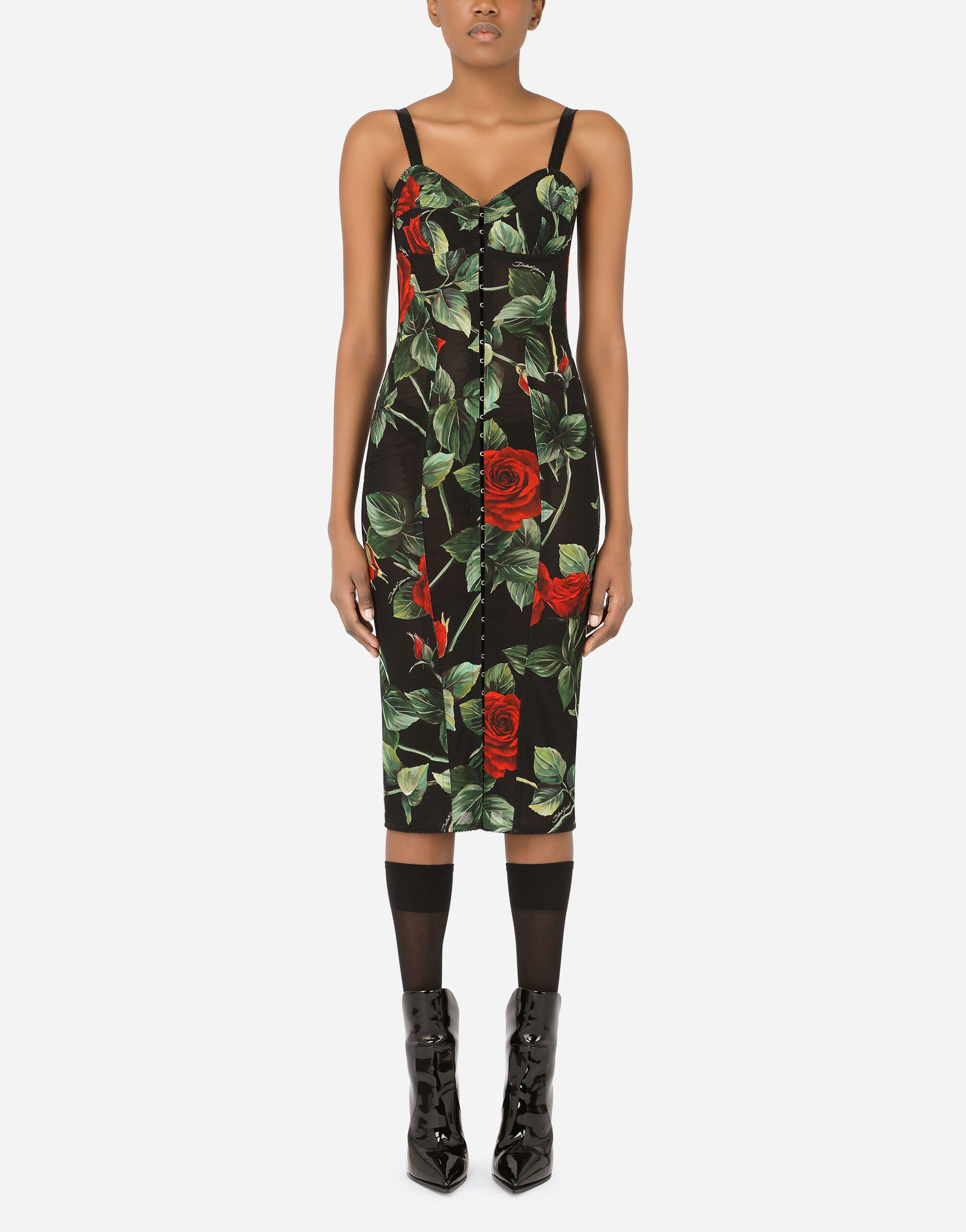 Calf-length bustier dress in rose-print marquisette
