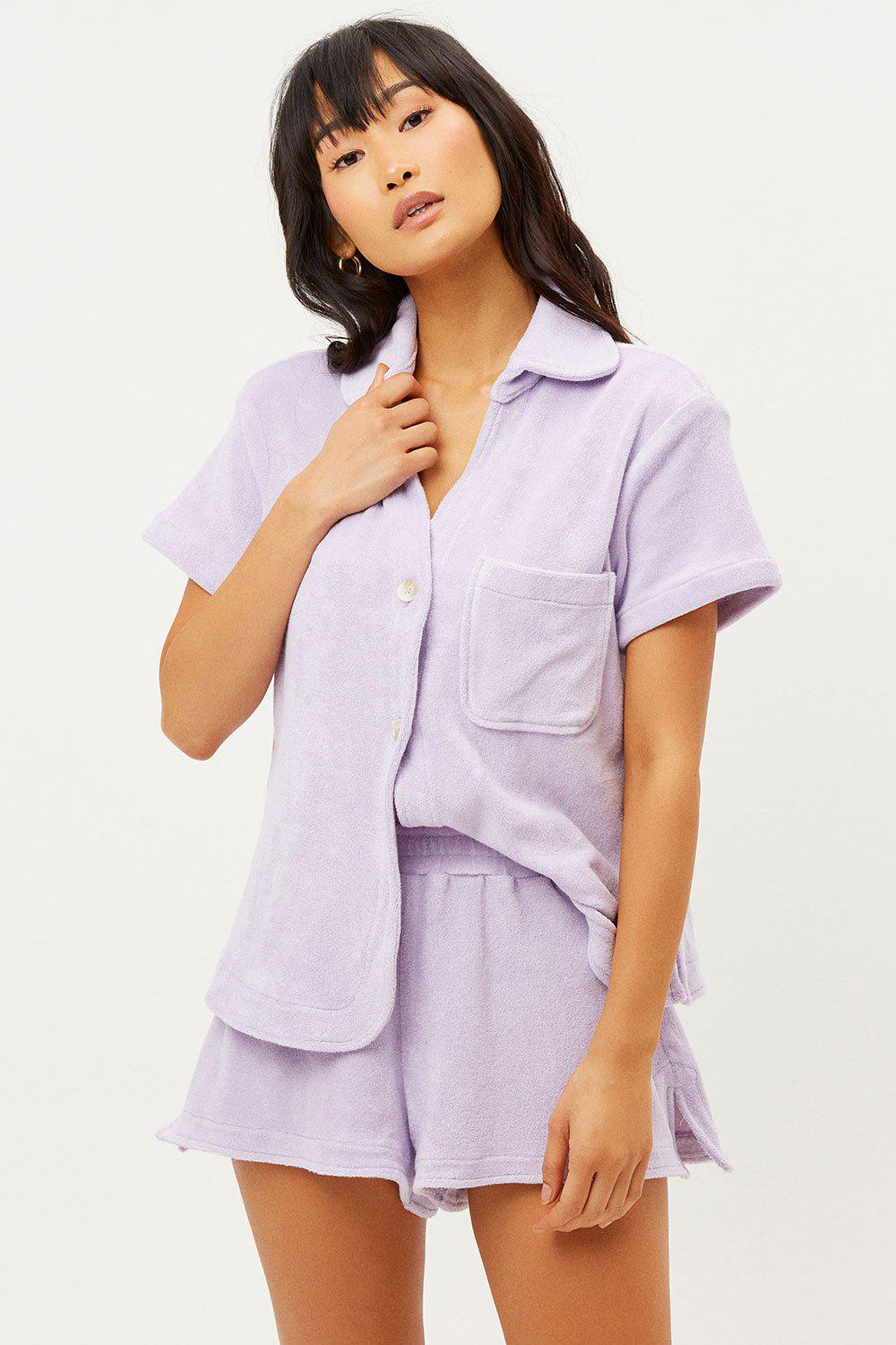 Coco Terry Button Up Shirt - Lilac