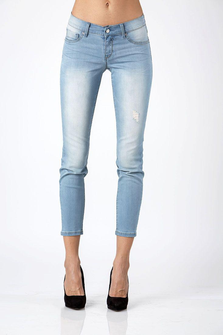 Hi Wire Soft Distressing Light Wash Destroyed Cropped Ankle Jeans