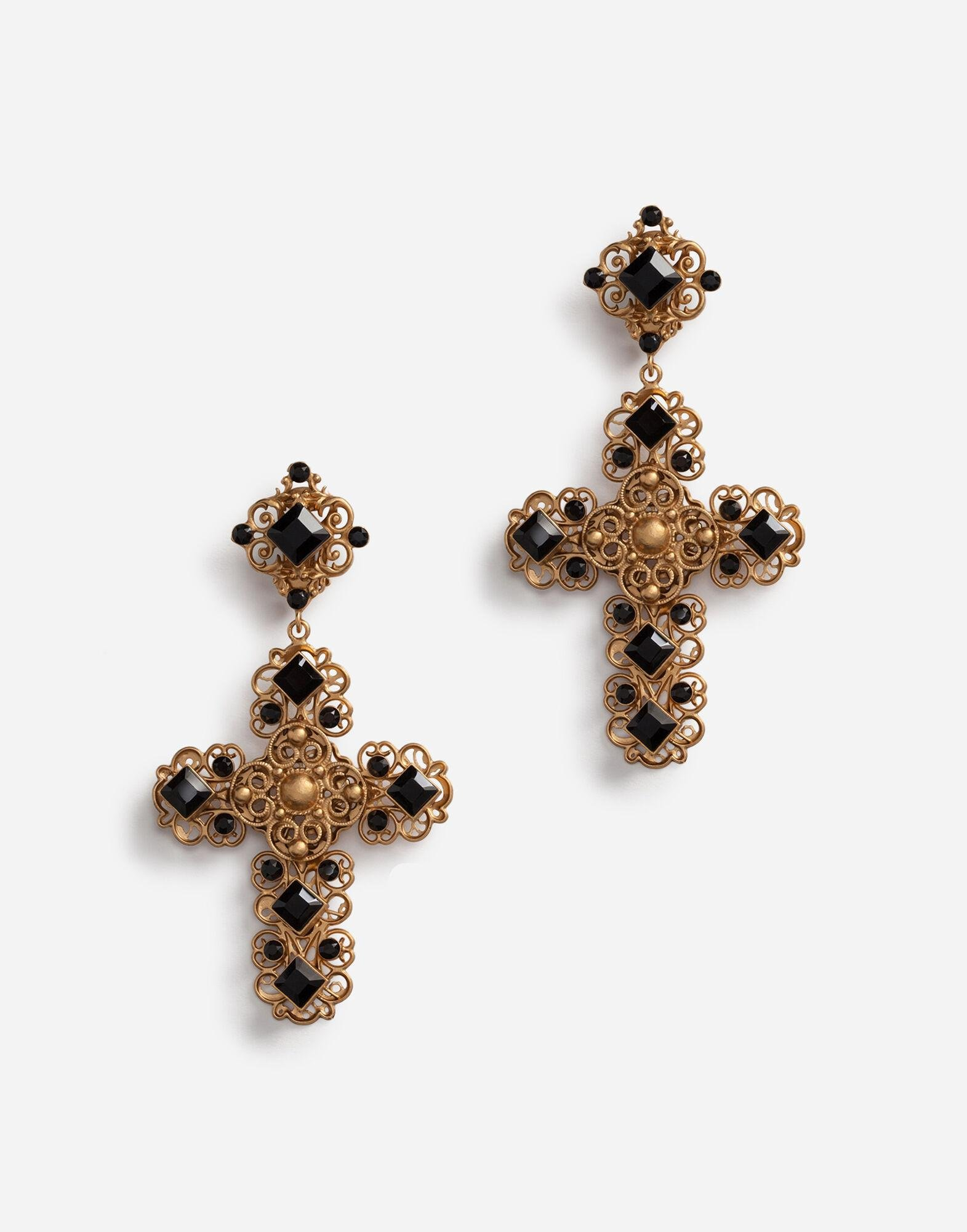 Clip-on drop earrings with crosses