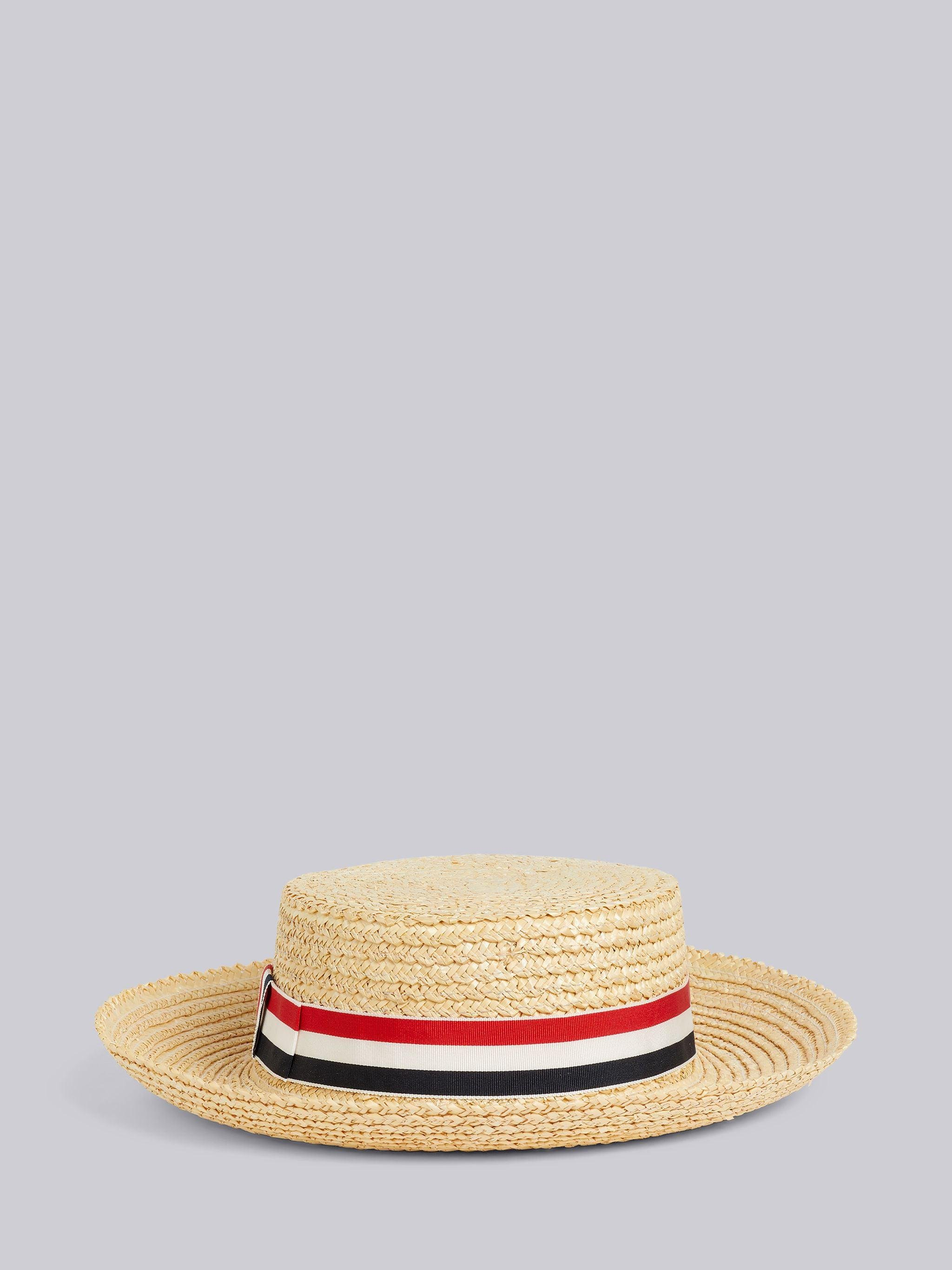 Natural Straw Wheat Braid Boater Hat