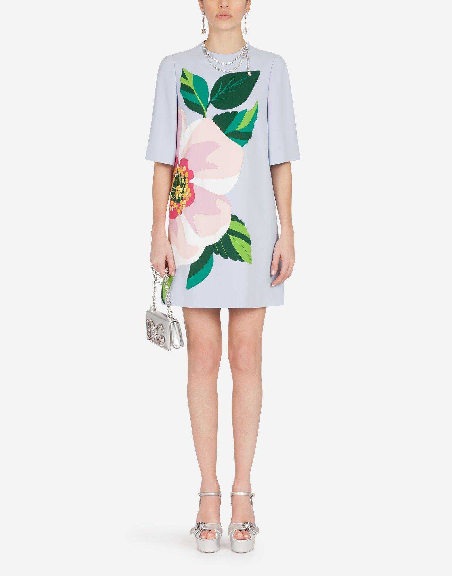 Short cady dress with floral embellishment