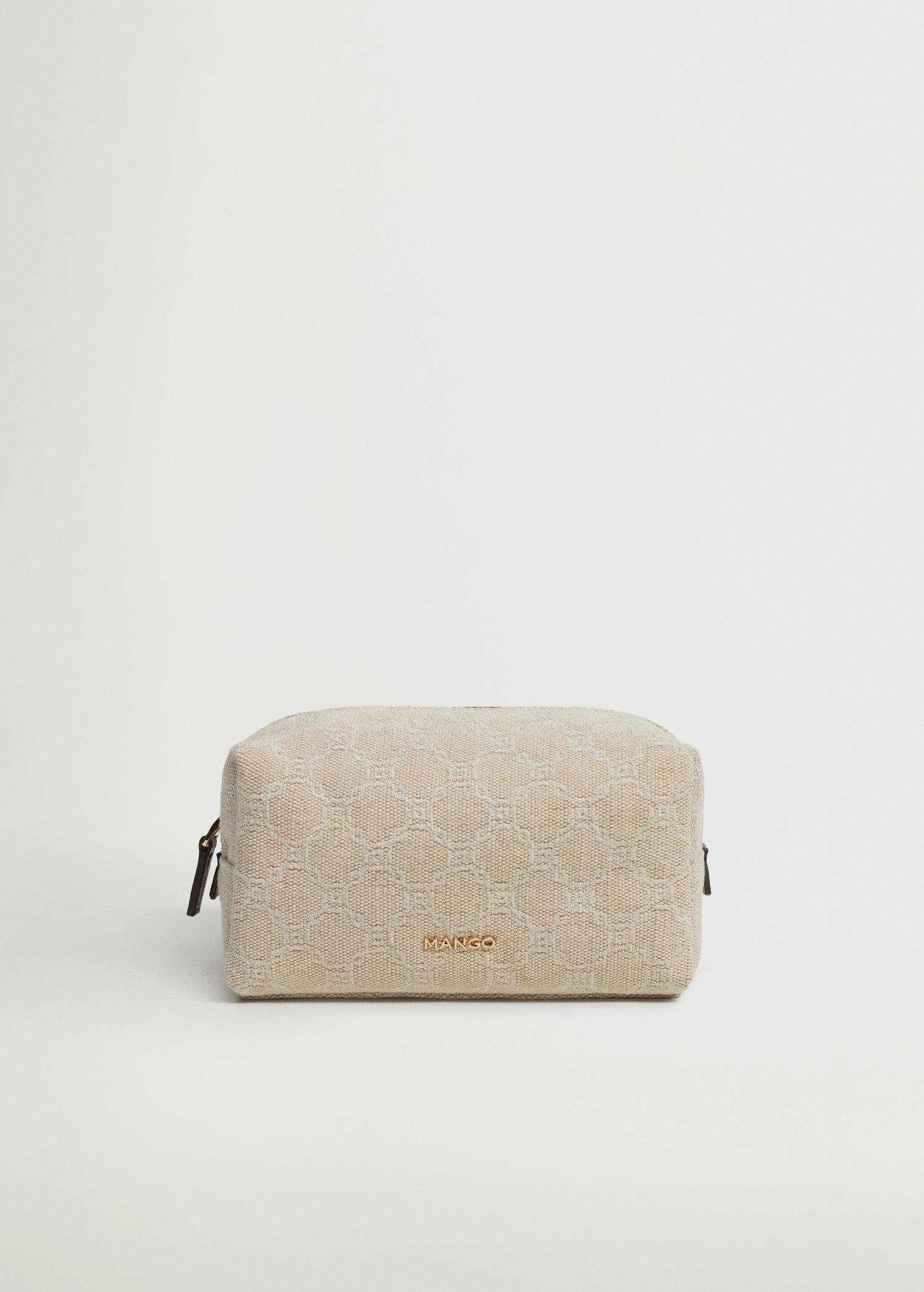Embroidered jute cosmetic bag