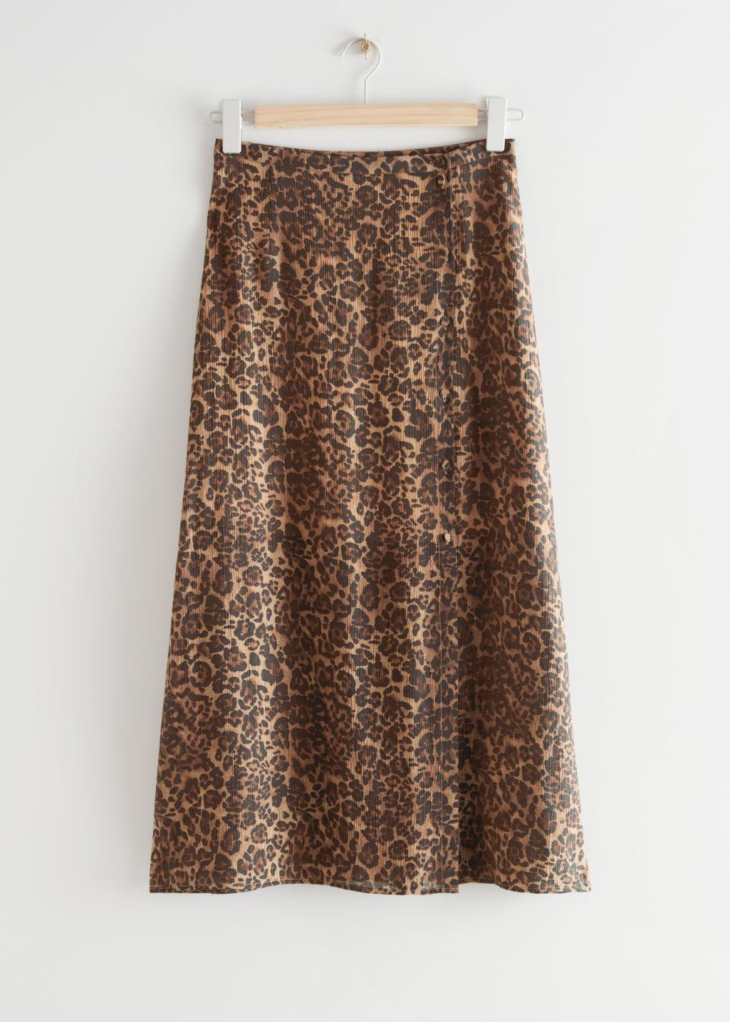 Buttoned Floaty Midi Skirt
