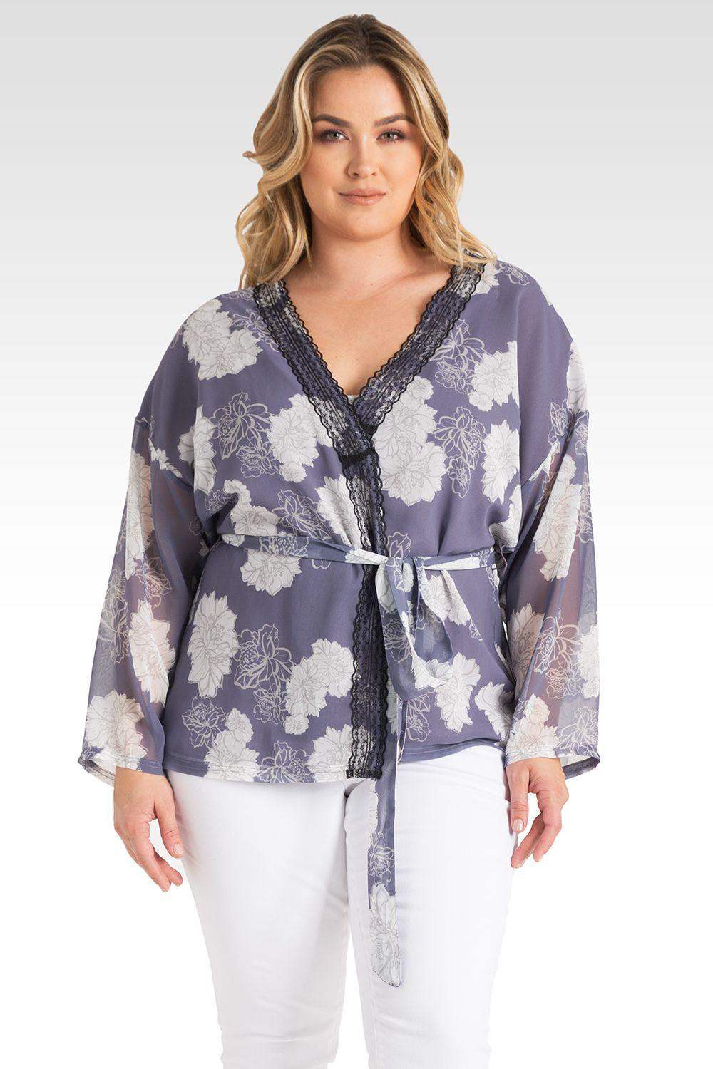 Plus Size Irna Floral Print Belted Kimono Cardigan Cover Up - Lavender