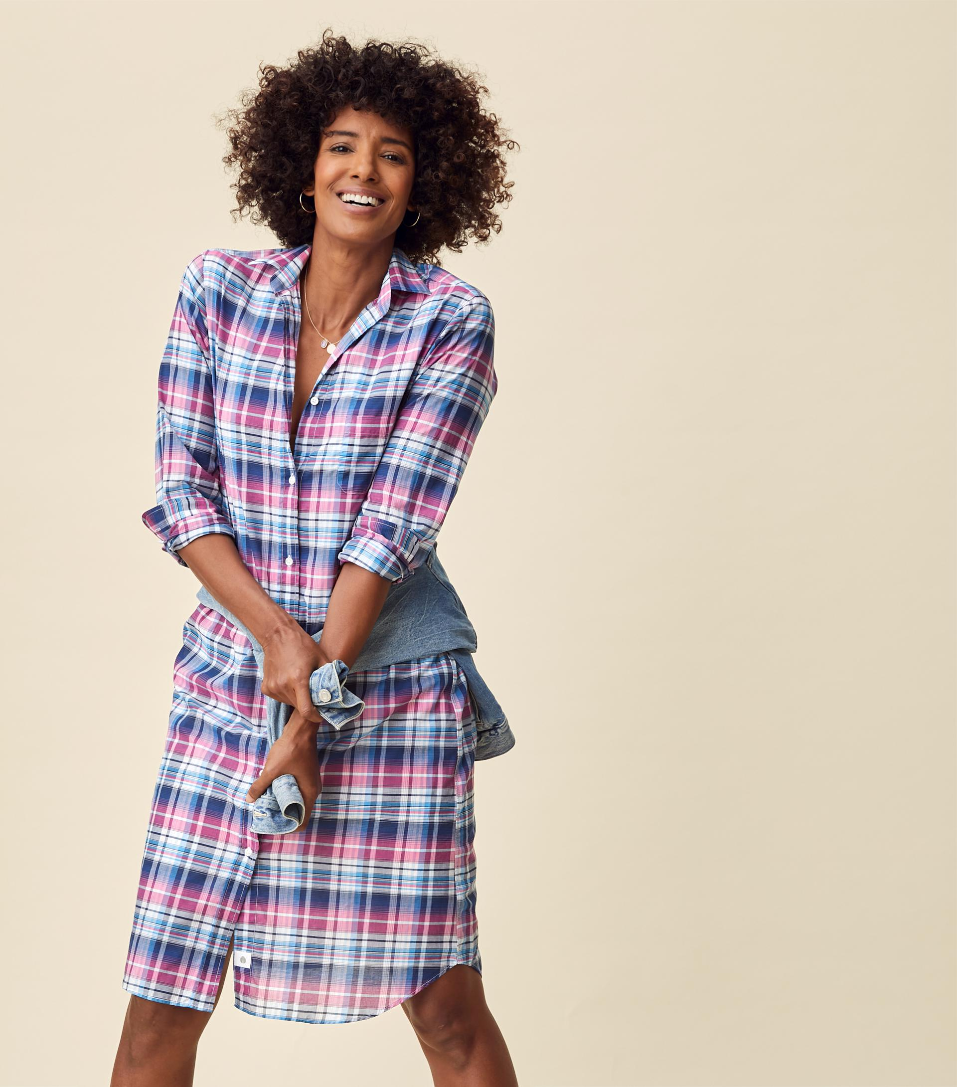 The Hero Midi Dress Blue and Pink Plaid, Tissue Cotton Final Sale