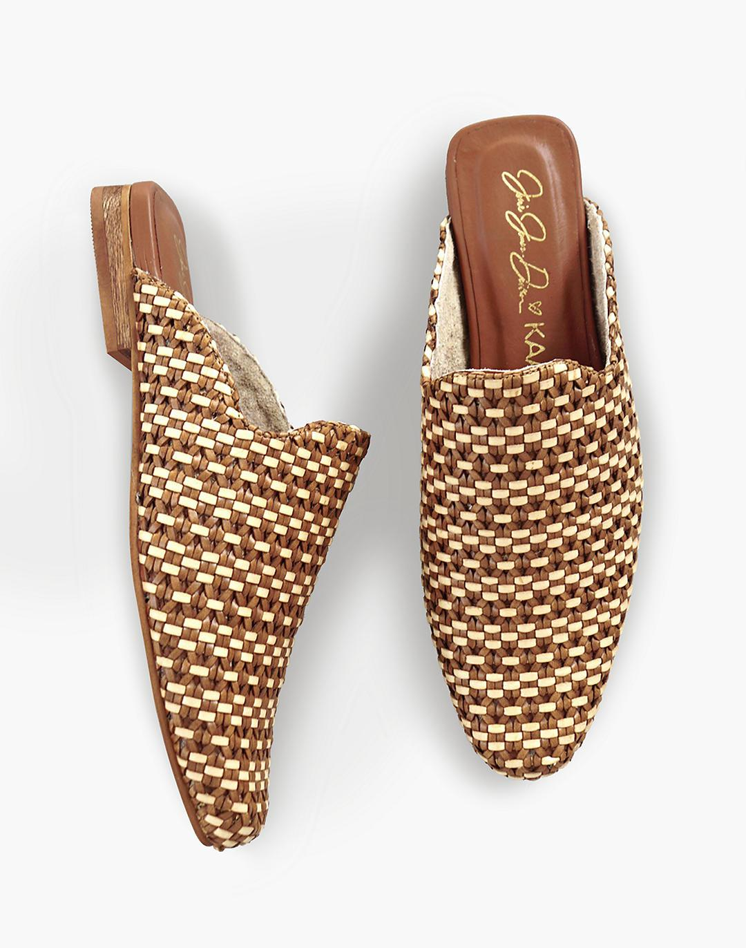 KAANAS Mustique Woven Square-Toe Mules 2