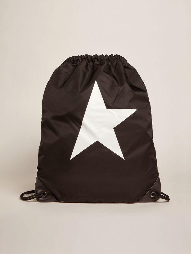 Star Collection backpack in black nylon with drawstring fastening