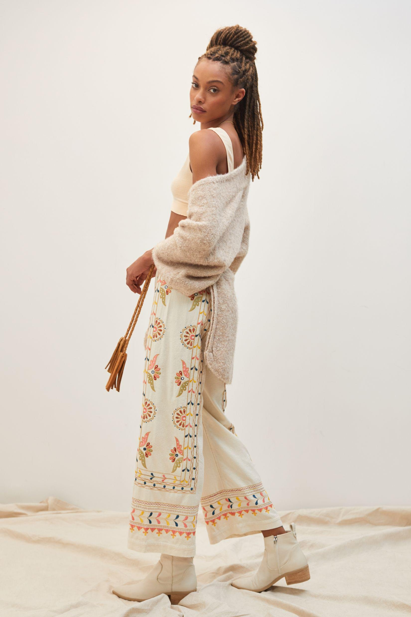 Embroidered Straight Pants