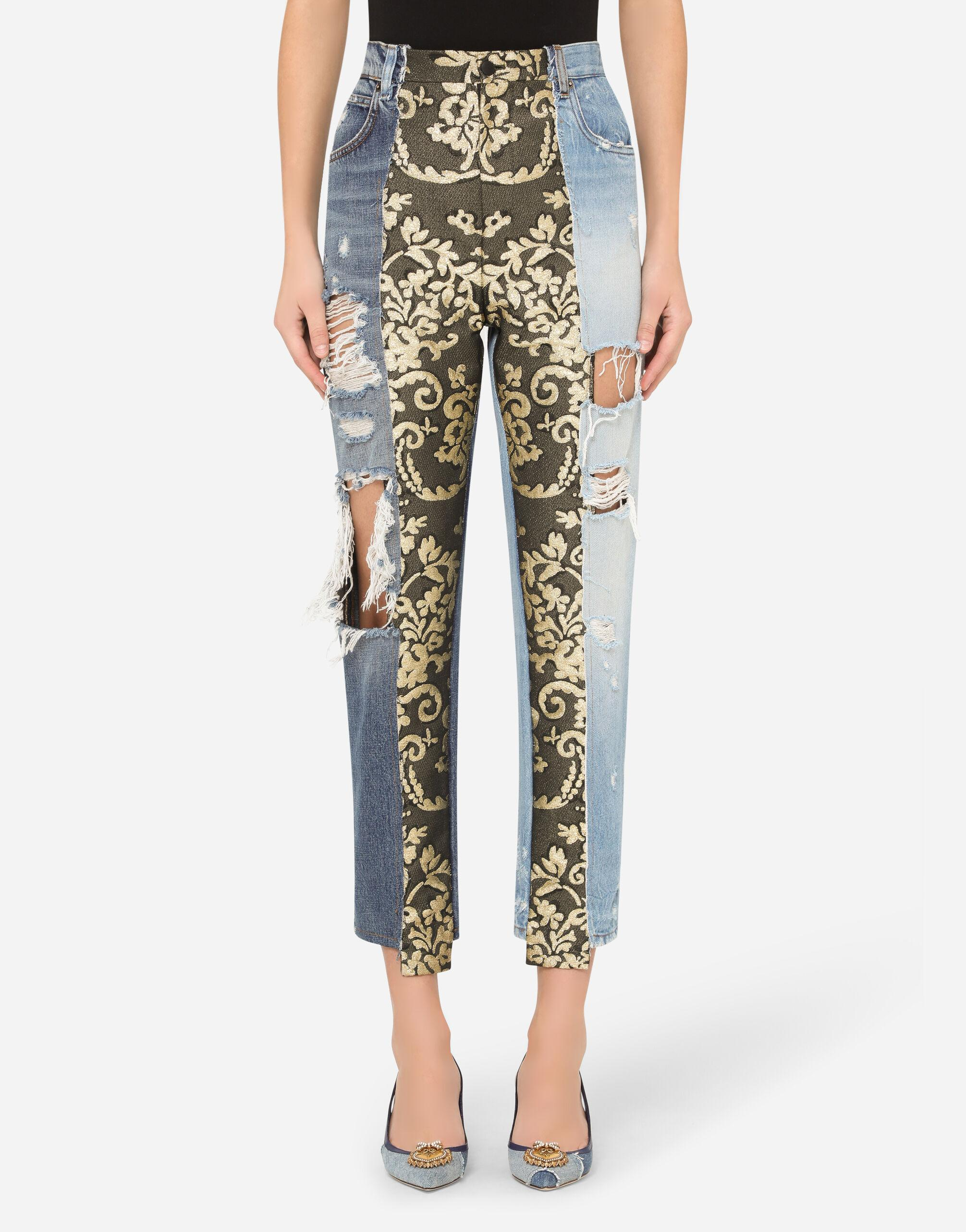 High-waisted jacquard and denim jeans