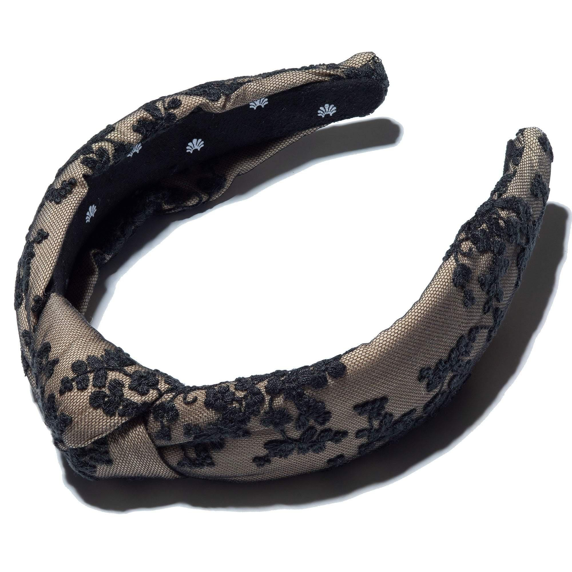 JET CHANTILLY FLORAL LACE KNOTTED HEADBAND