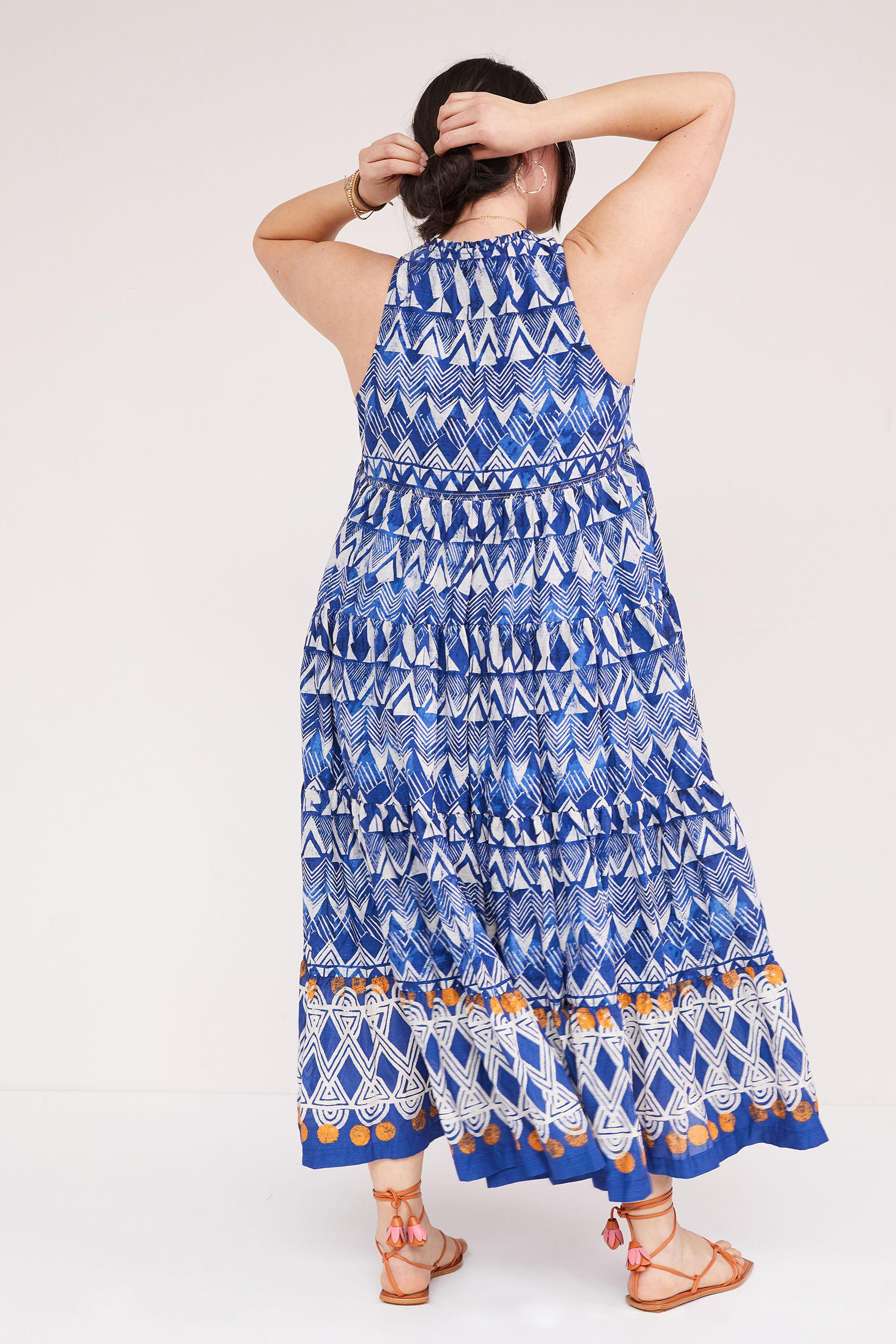 Tiered Abstract Maxi Dress 9
