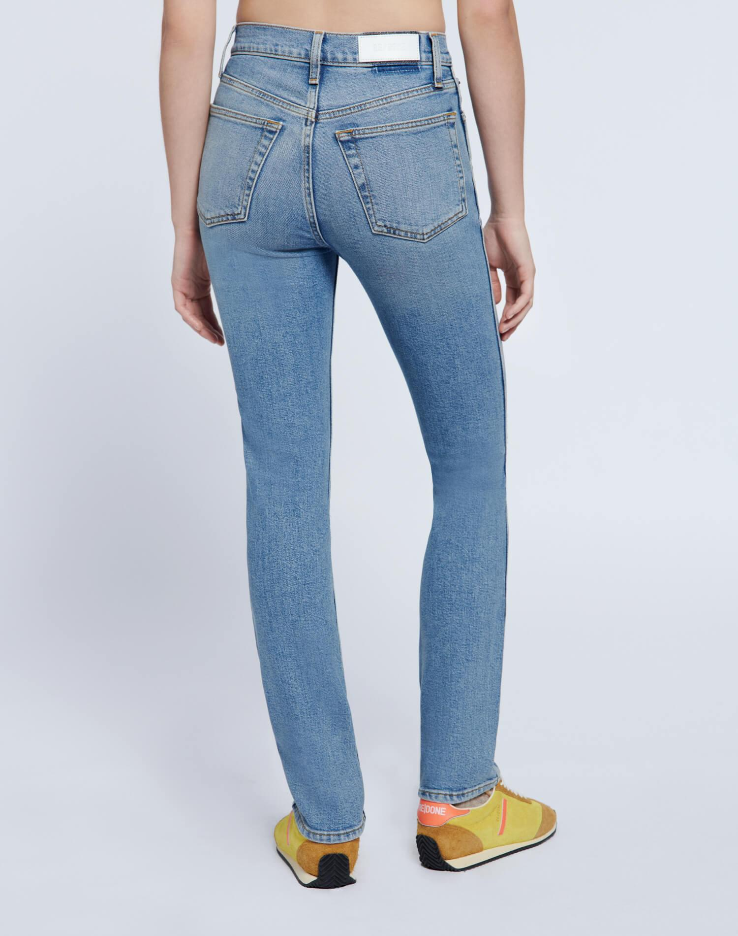 80s Comfort Stretch Slim Straight - Brisk Blue with Rips 3