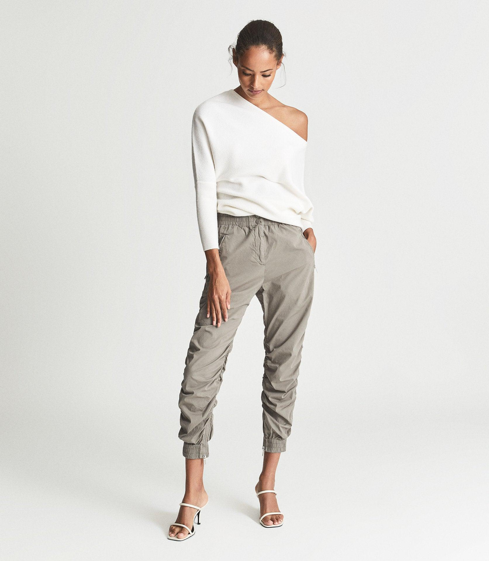ESIN - COTTON BLEND RUCHED TROUSERS