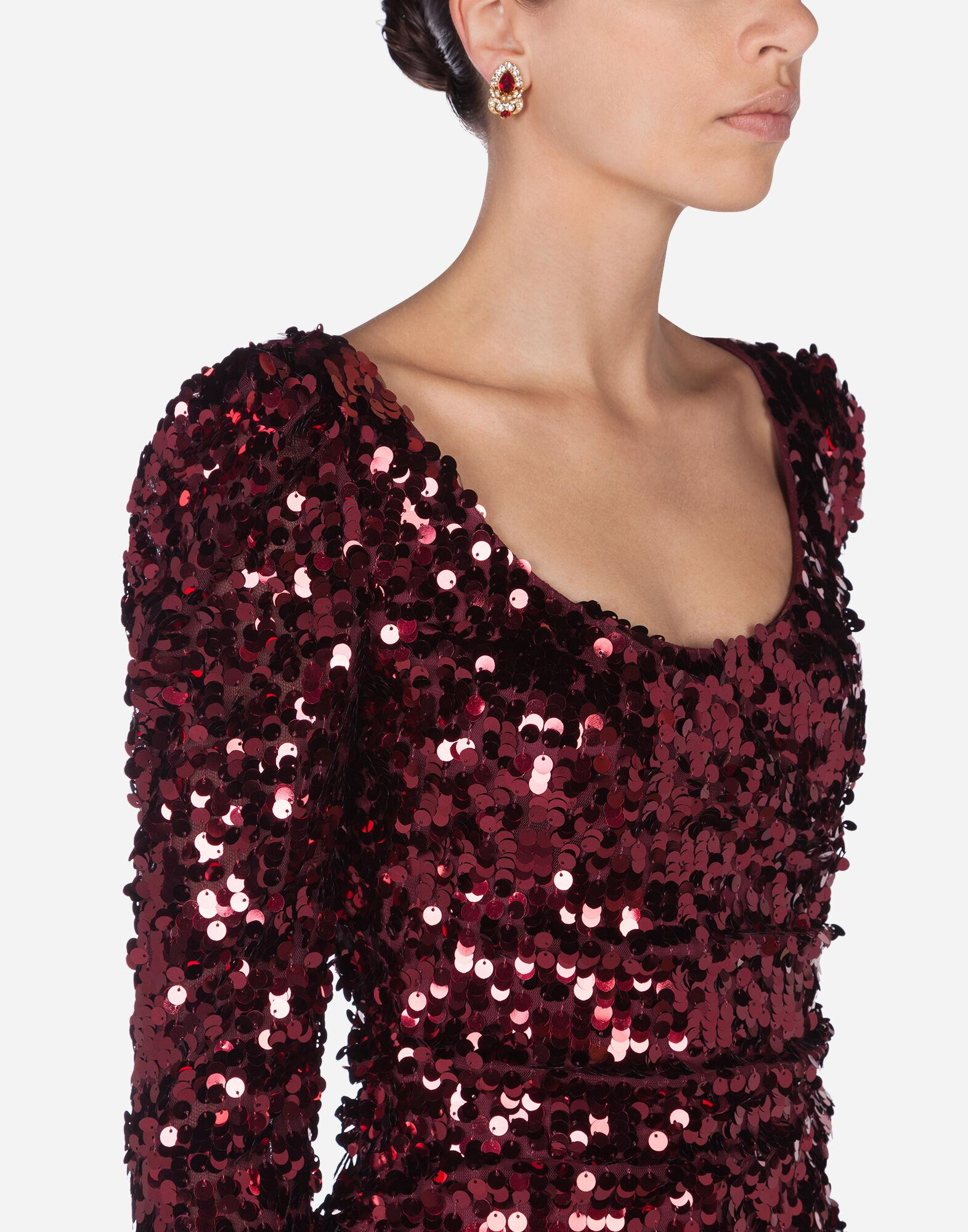 Long-sleeved dress with sequined sleeves 3