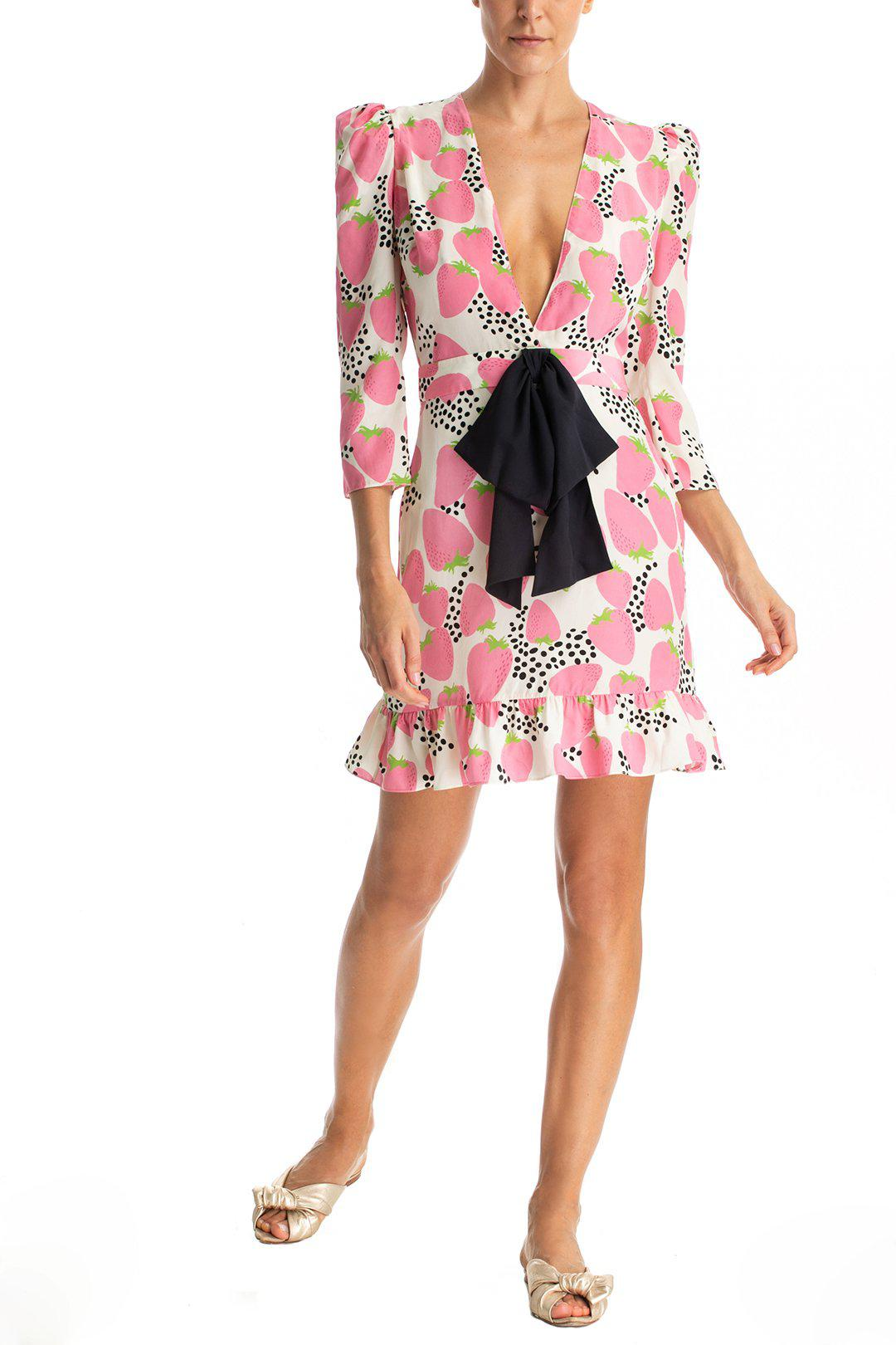Strawberry Short Dress With Knot