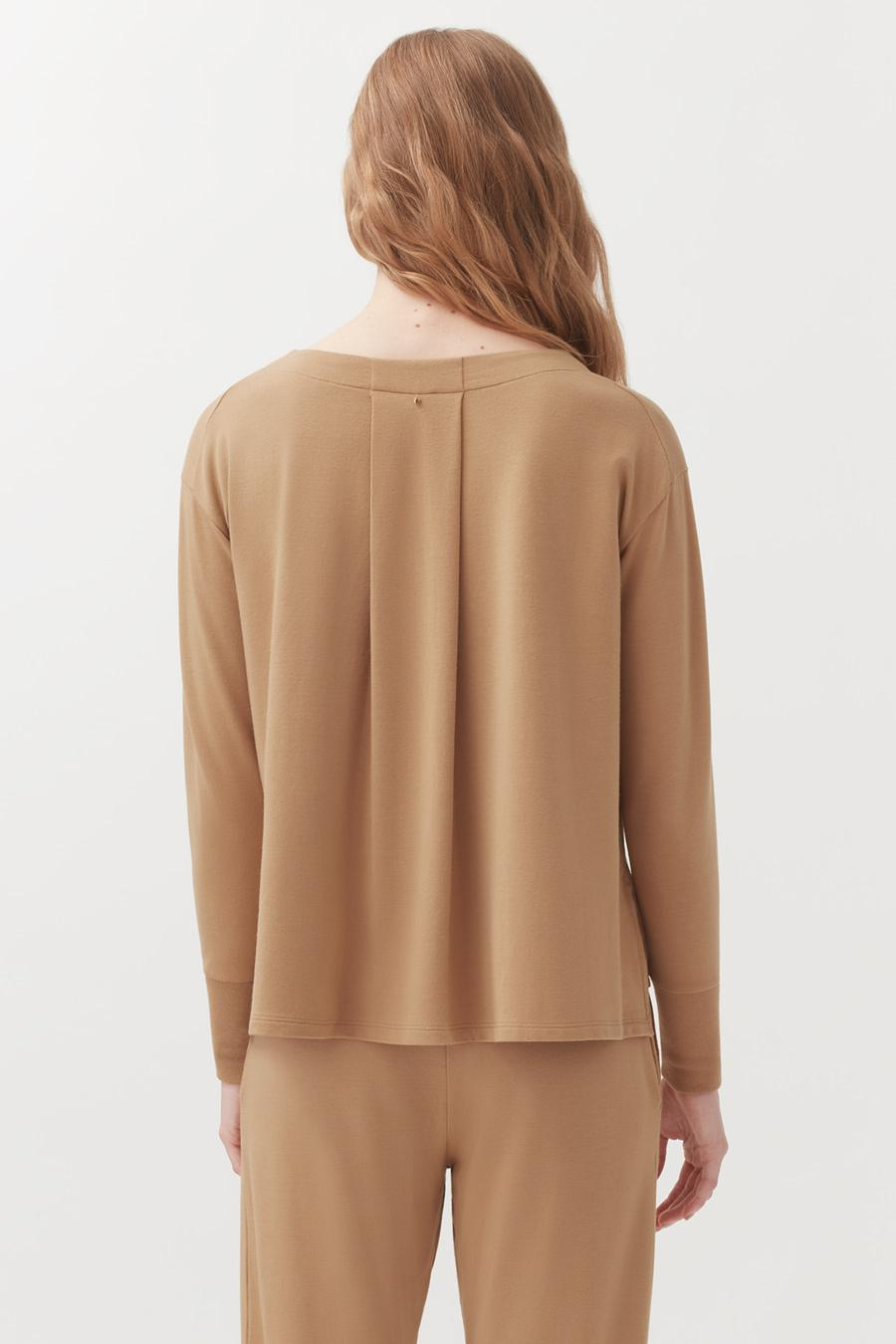 Women's French Terry V-Neck Sweatshirt in Camel | Size: 2