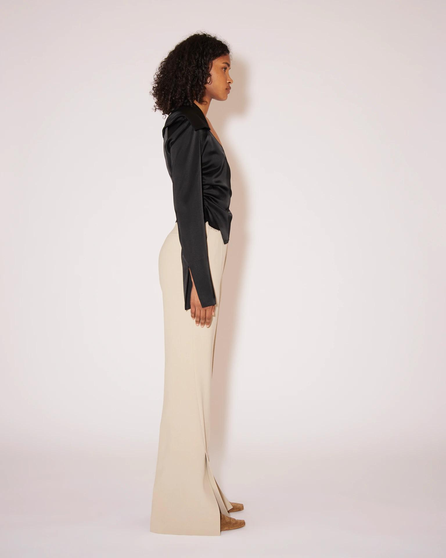 TULIP - Eco cady suiting wide-leg pants - Stone 2