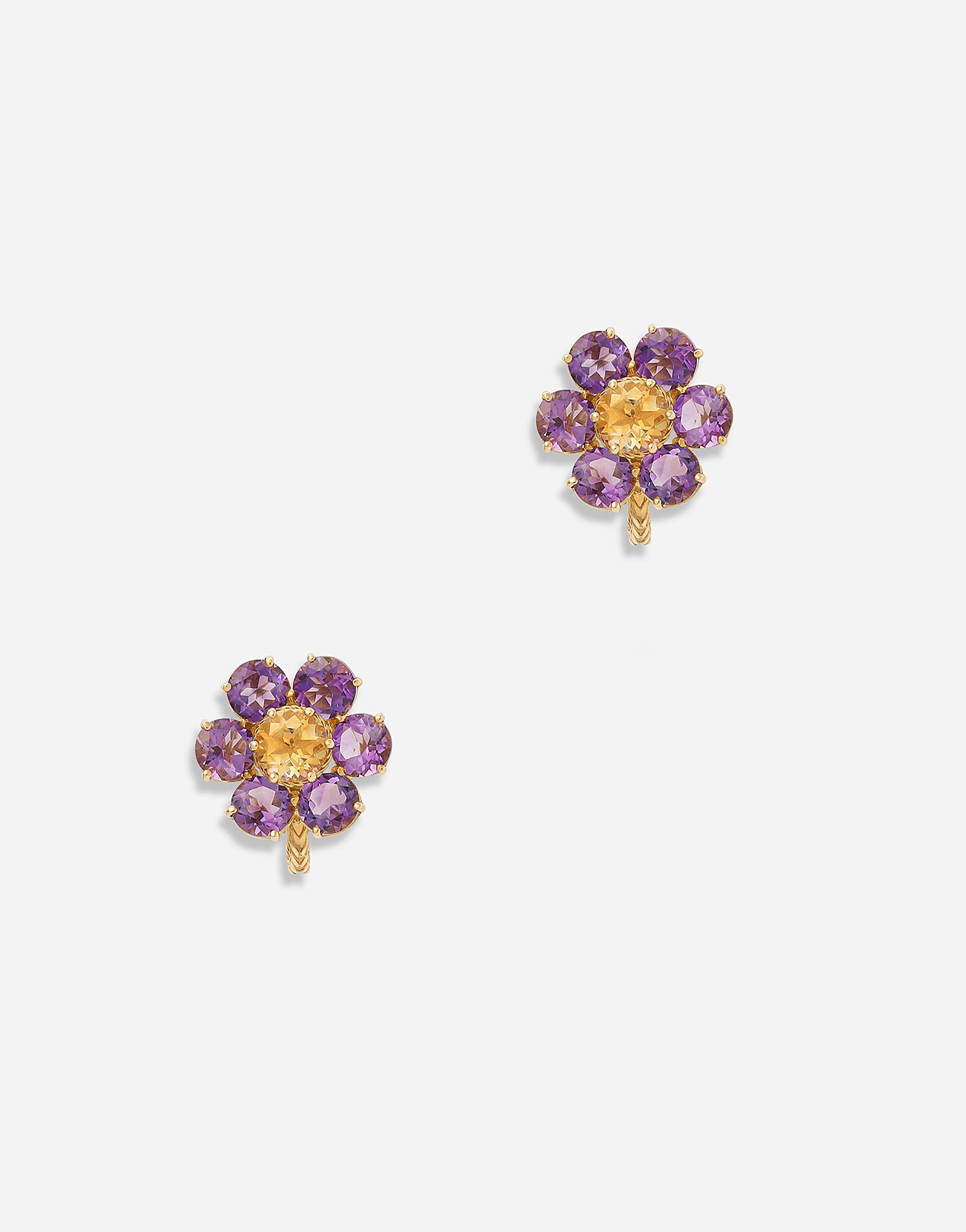 Spring earrings in yellow 18kt gold with amethyst flower motif