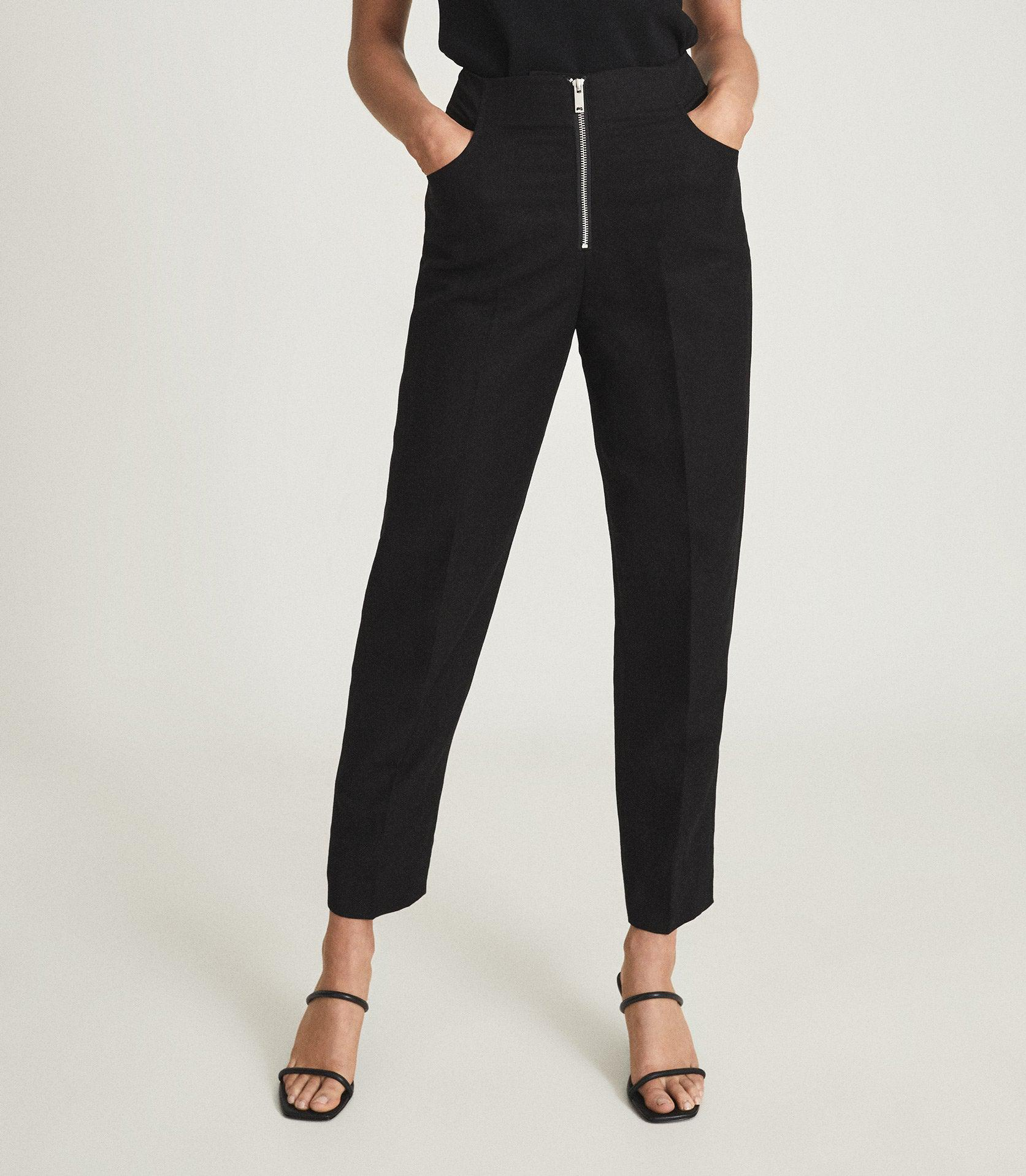 CALLY - LINEN BLEND TROUSERS WITH EXPOSED ZIP 1