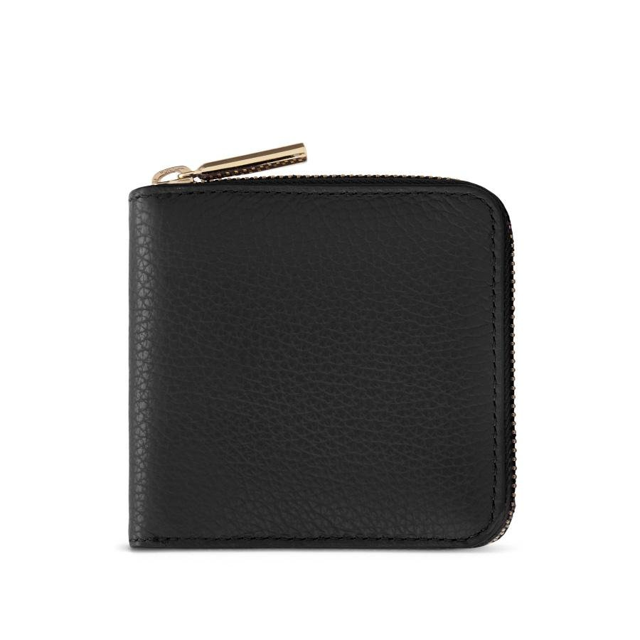 Women's Small Classic Zip Around Wallet in Black/Soft Rose | Pebbled Leather by Cuyana