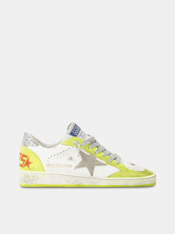 White Ball Star sneakers with fluorescent yellow inserts and glitter