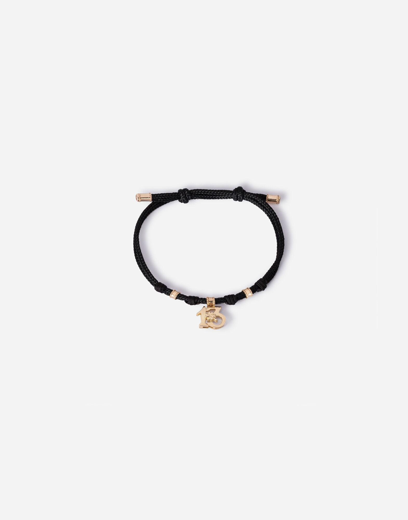 Fabric Good luck bracelet with yellow gold pendant charm