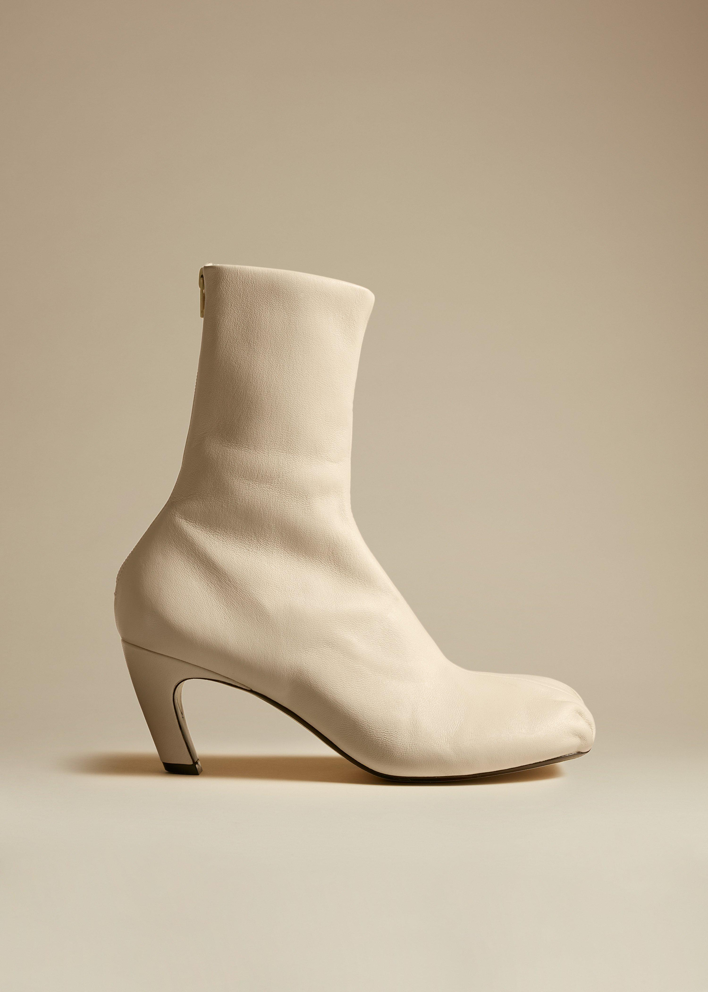 The Normandy Boot in Cream Leather