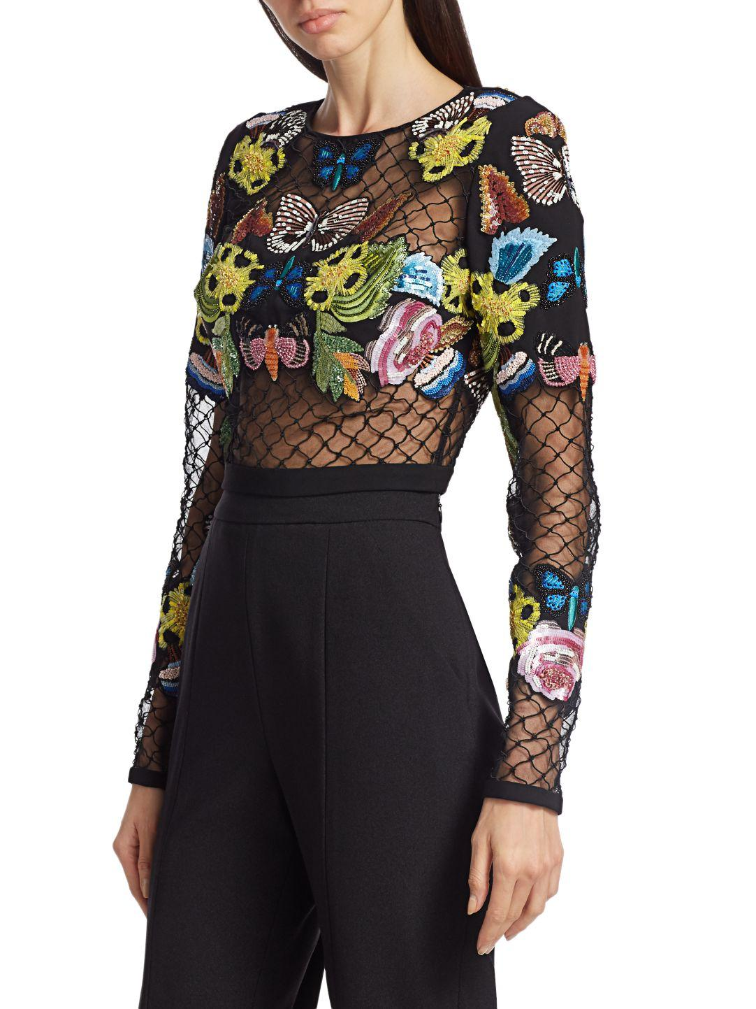 HAND EMBROIDERED MESH TOP 4