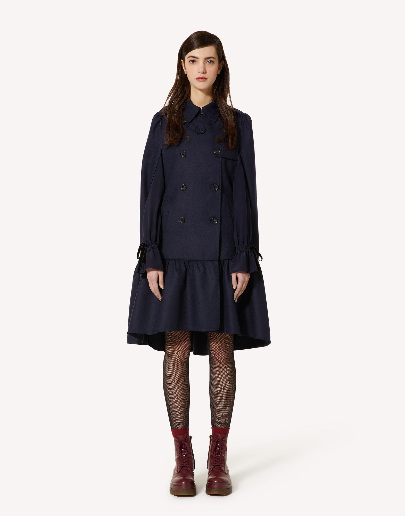 COMPACT WOOL TRENCH-LIKE CAPE