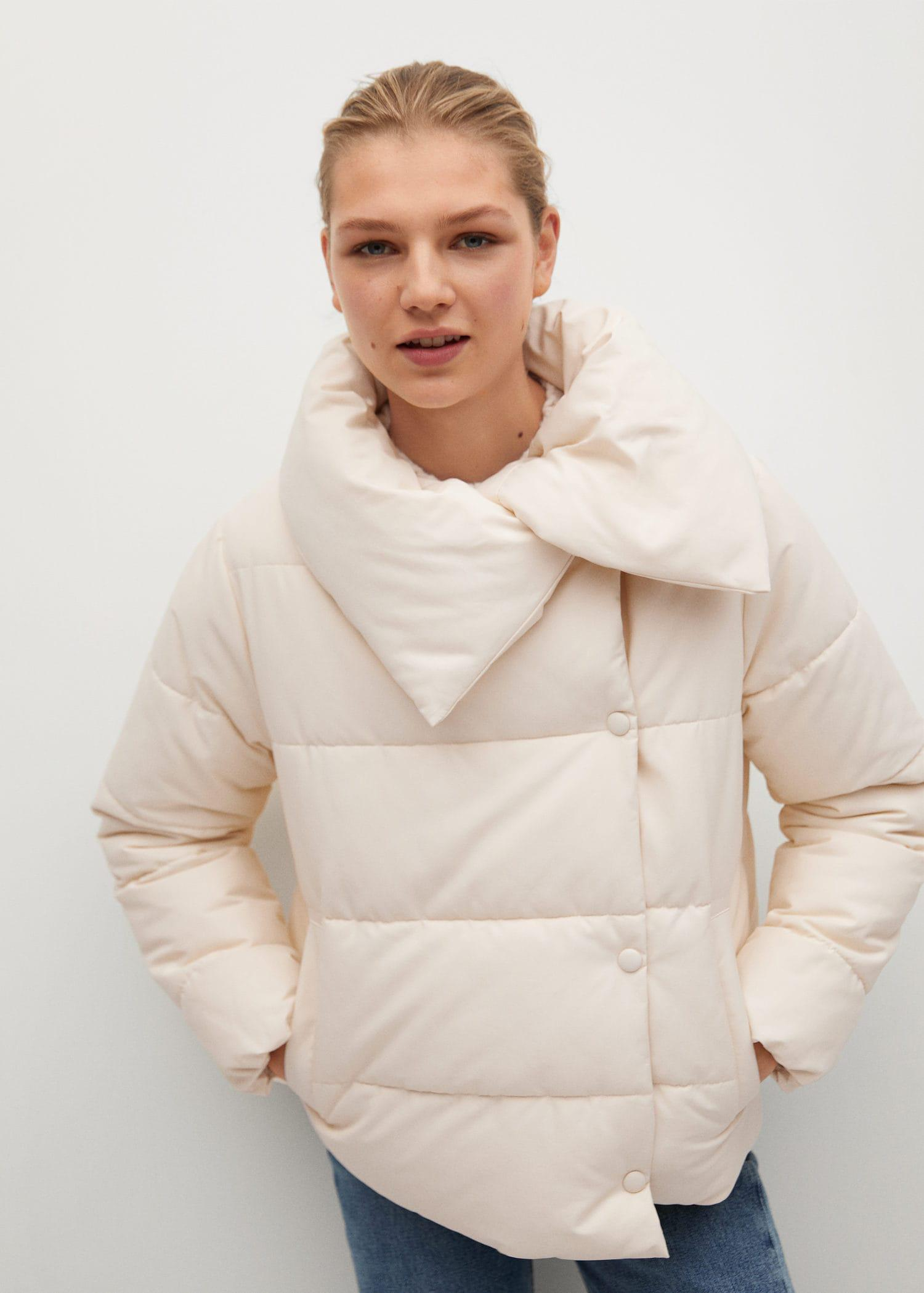Funnel neck feather coat