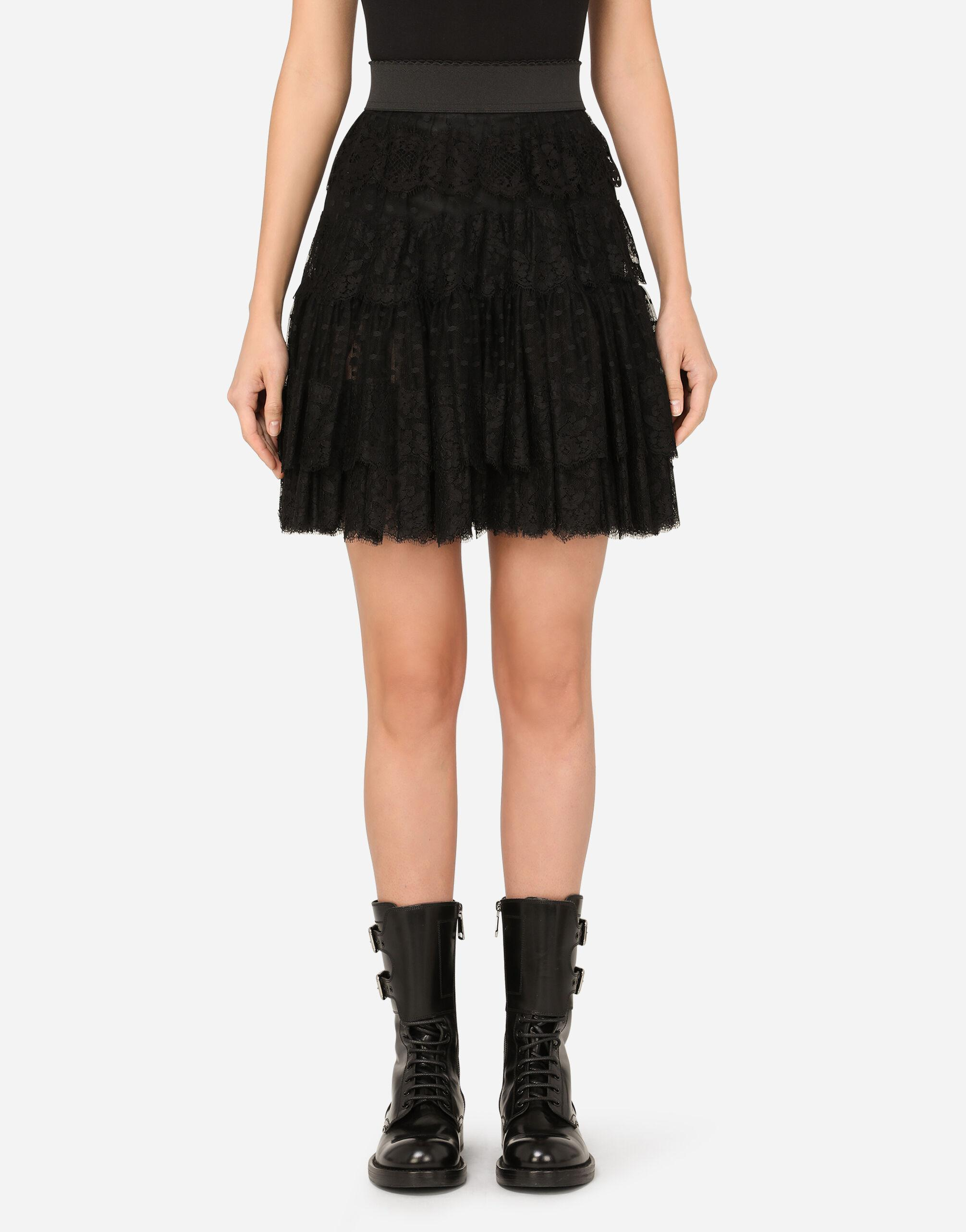 Ruffled tulle and lace midi skirt