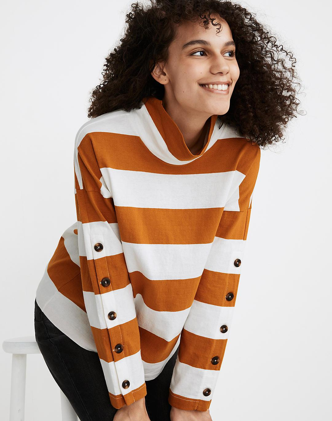 Striped Button-Sleeve Turtleneck Top