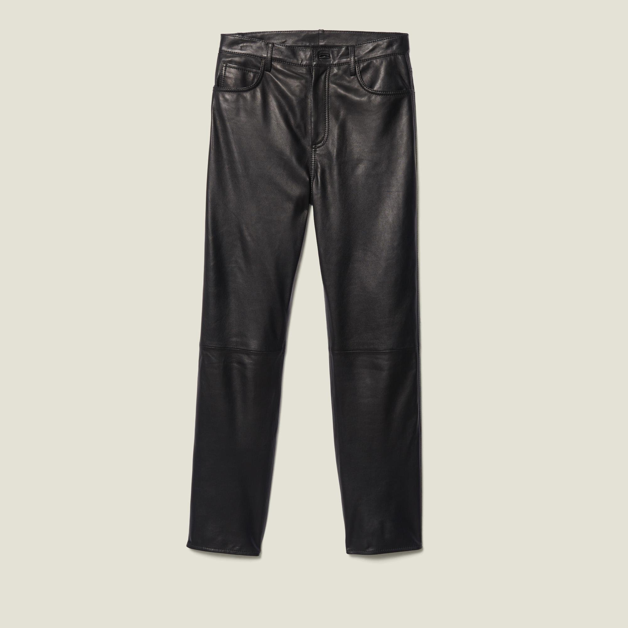 Straight leather pants with seaming