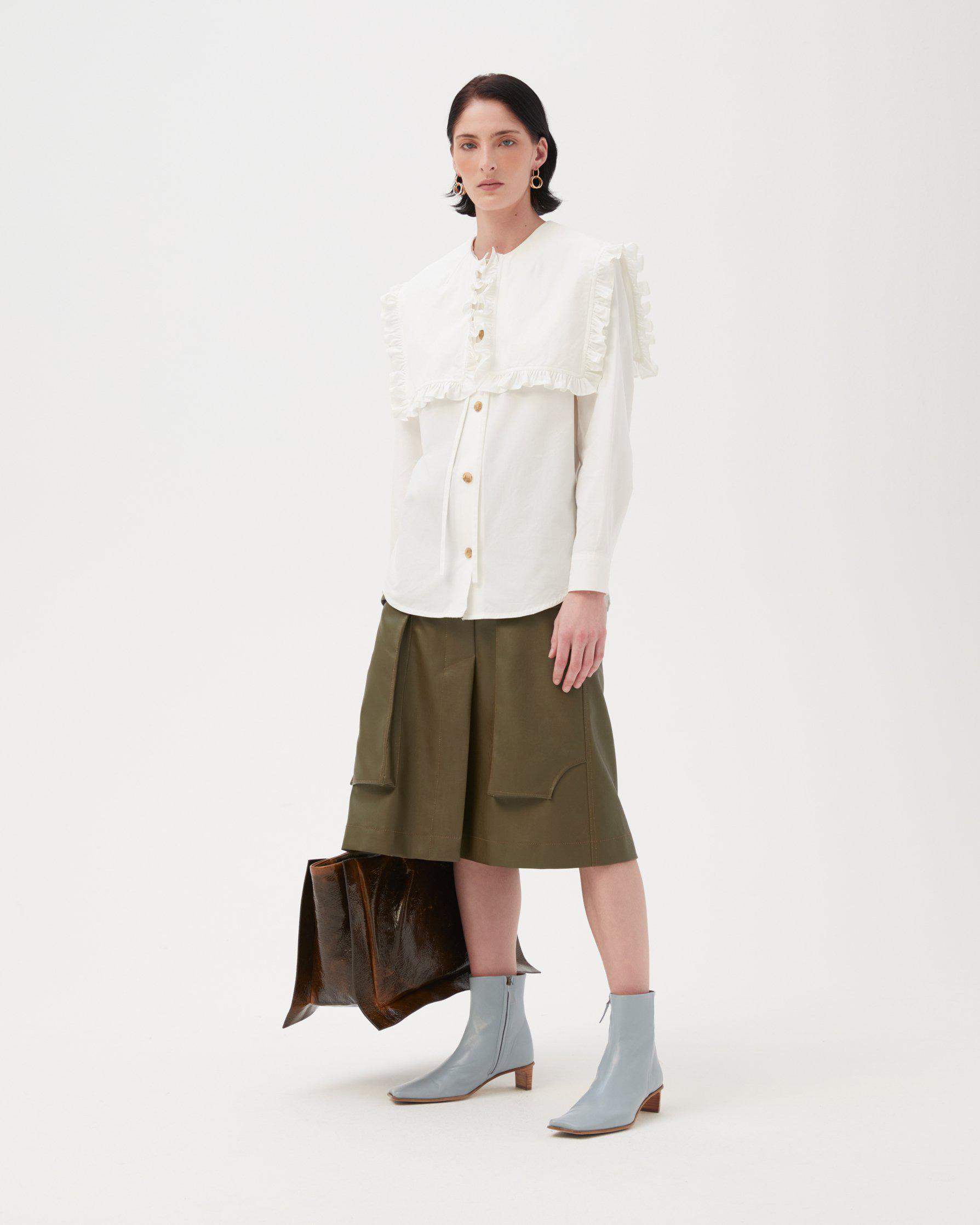 Donna Skirt Faux Leather Marsh Green 1