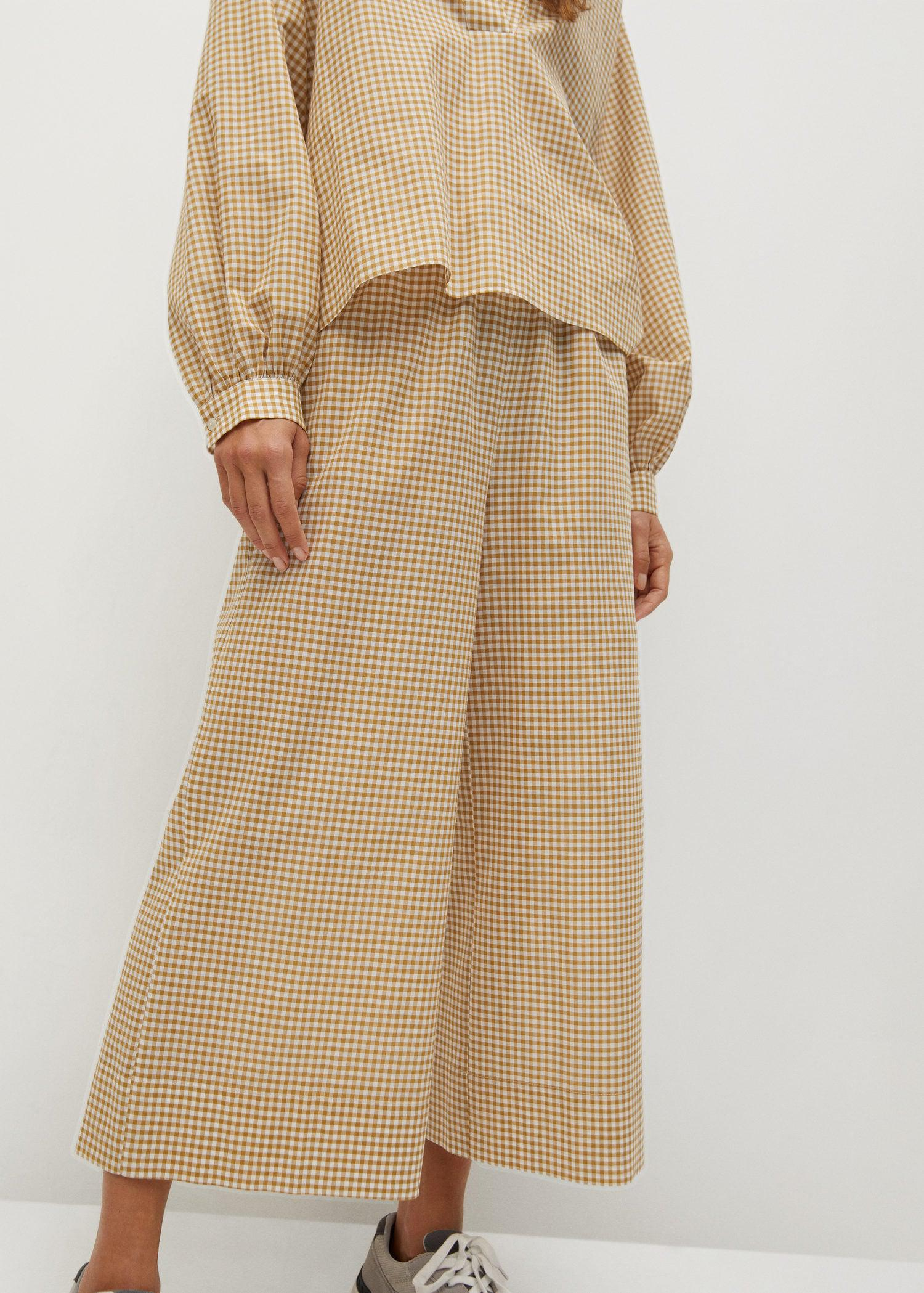 Gingham check culotte pants
