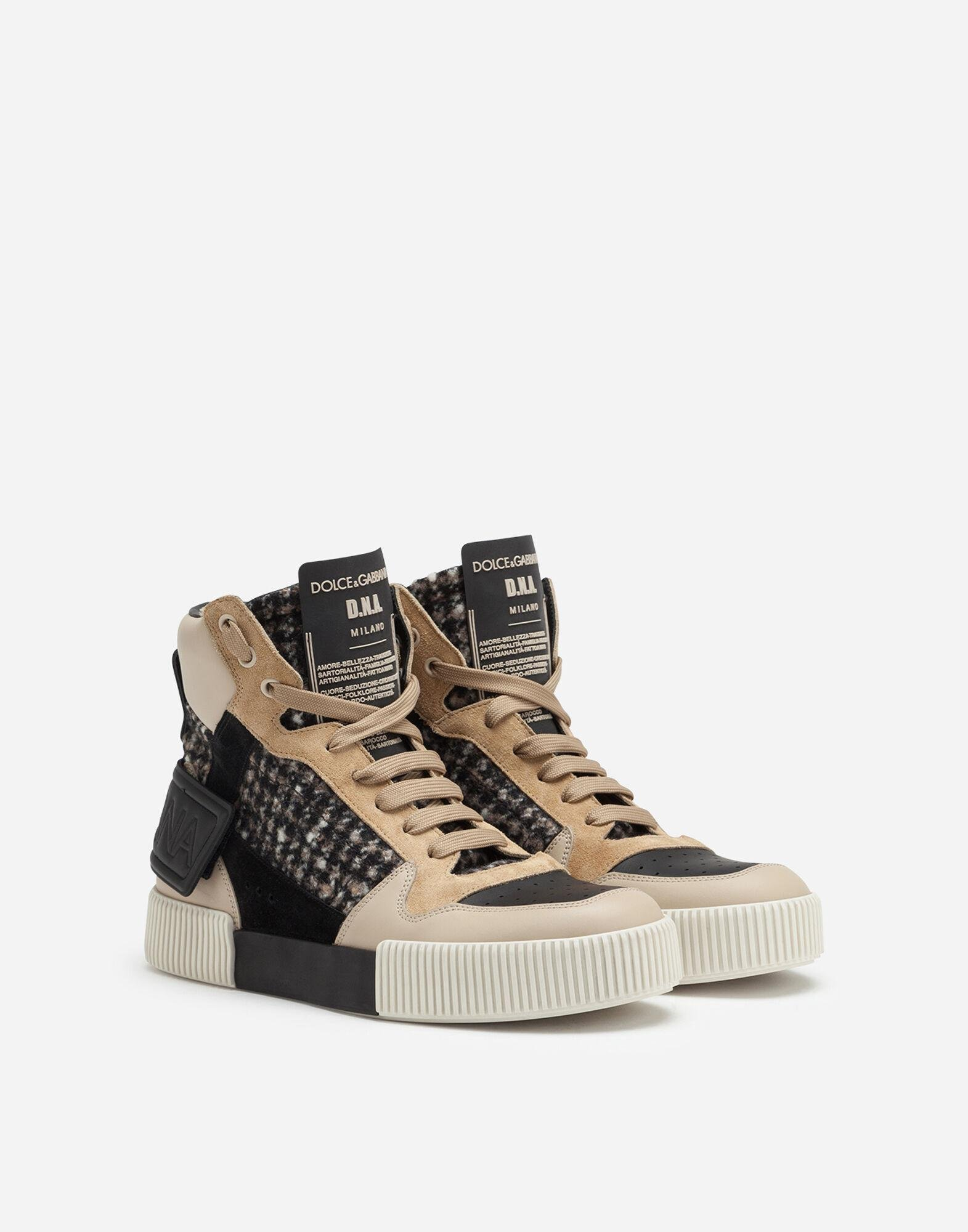 Miami high top sneakers in houndstooth and nappa leather 1