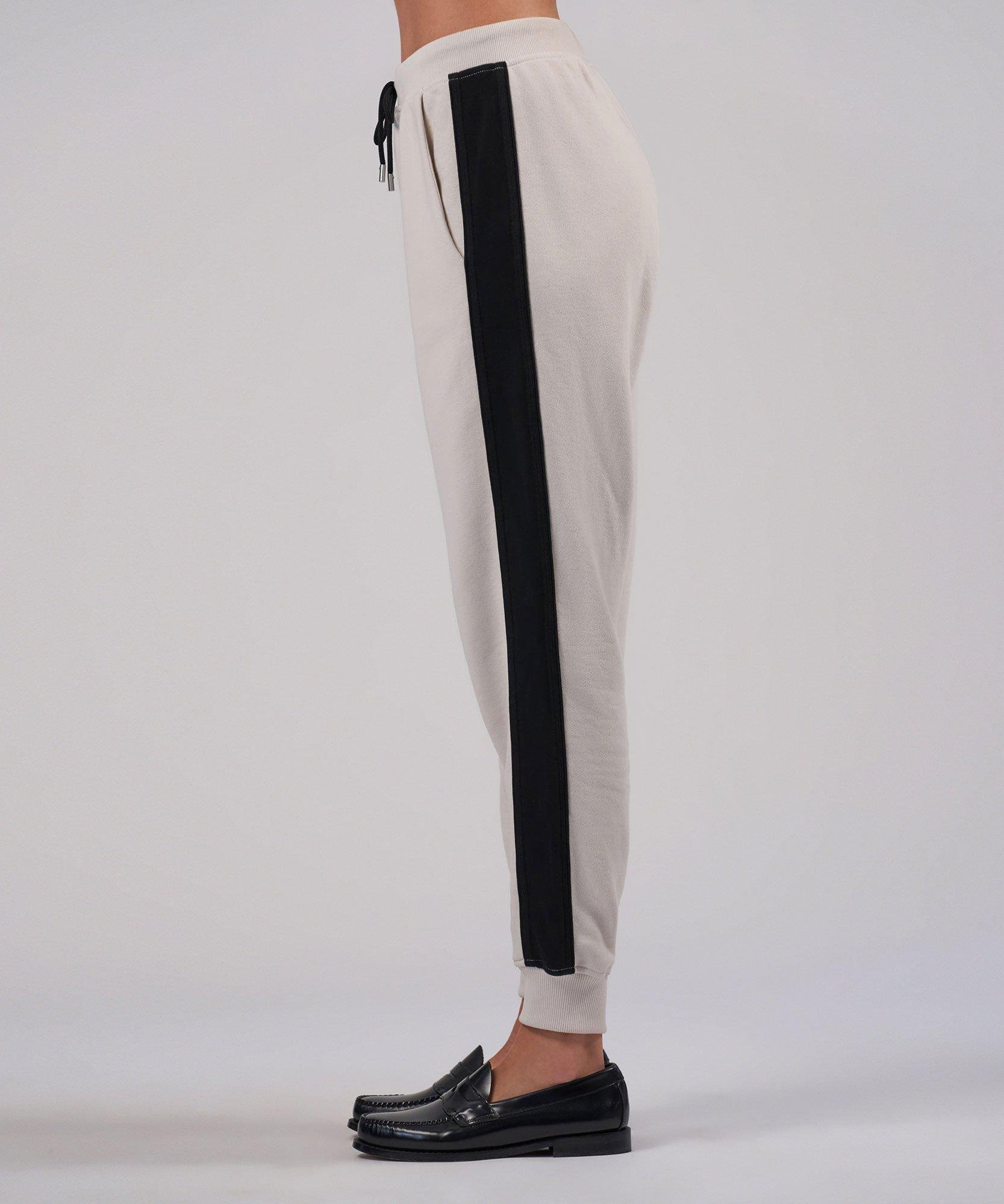 French Terry Racing Stripe Pull-On Pants - Tan Combo 1