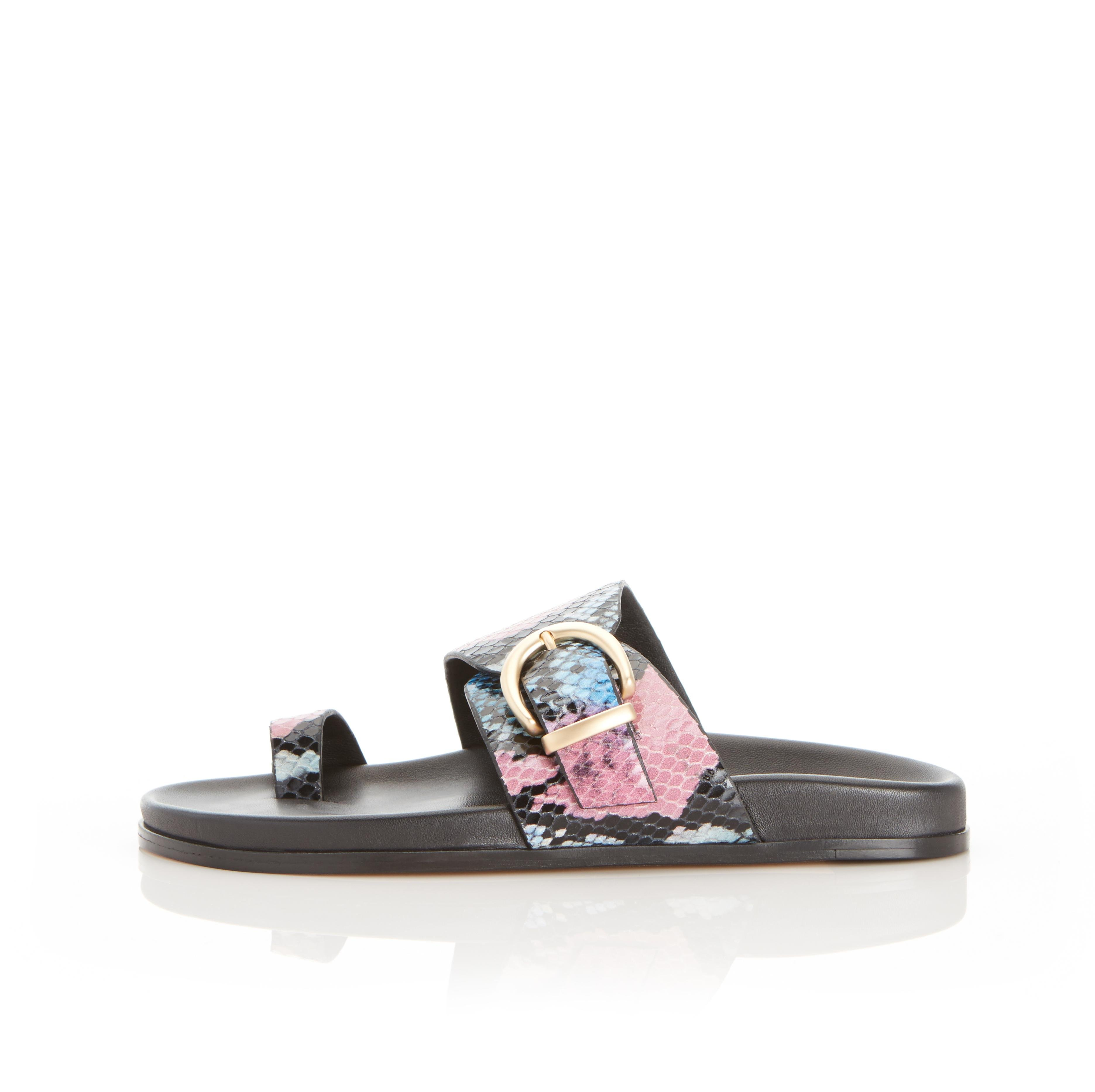 Cyrus | Leather Slide Sandal with Contoured Footbed