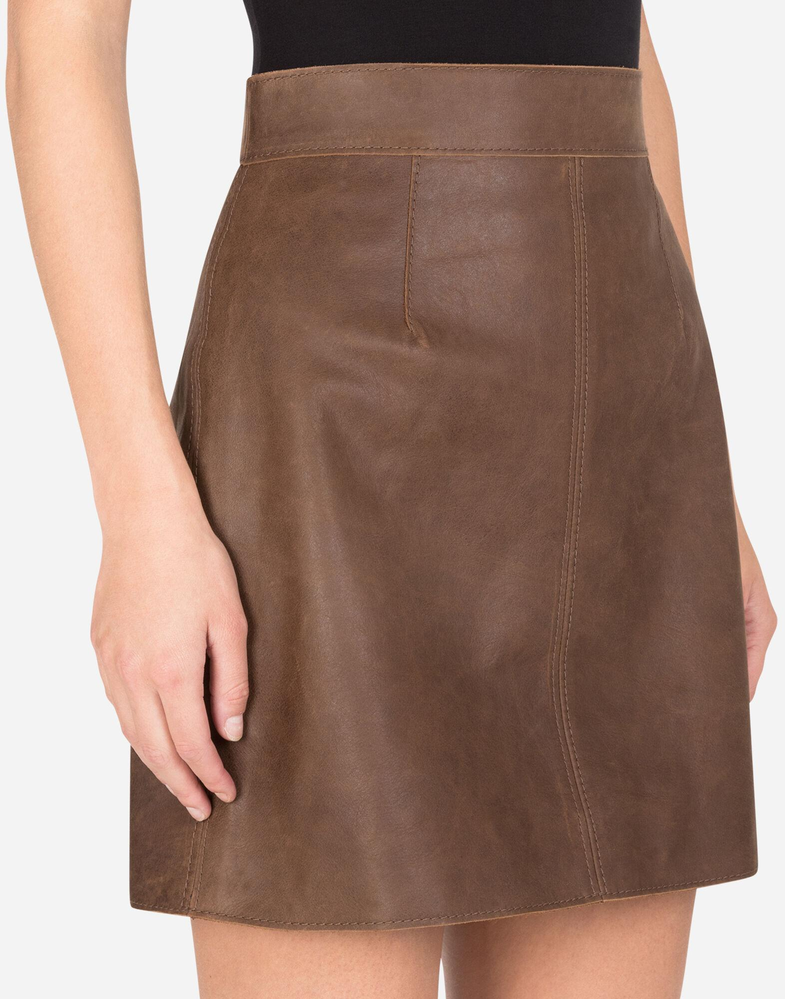 A-line miniskirt in hammered nappa leather 2
